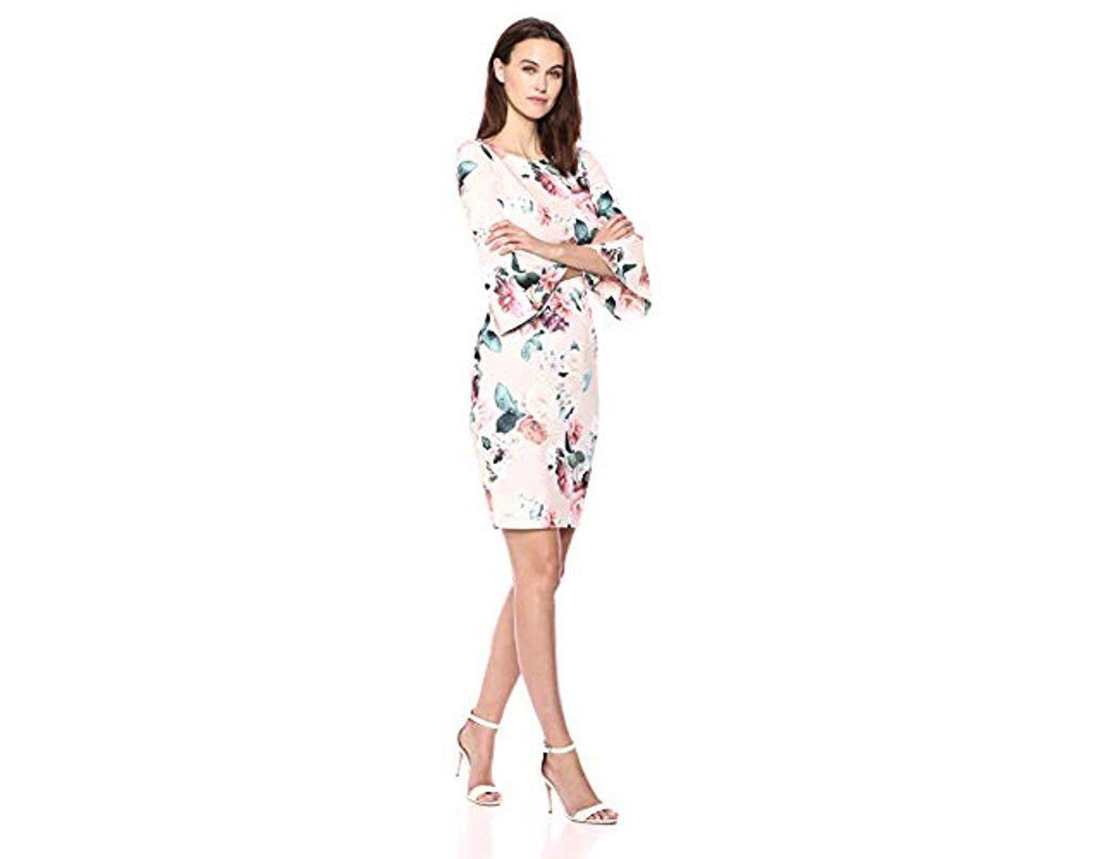 2fb447f4c3de Calvin Klein 3/4 Peplum Sleeve Sheath Dress - Save 14% - Lyst