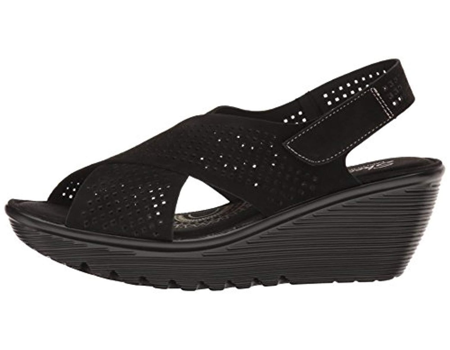 e35101de7f Skechers Parallel Infrastructure Wedge Sandal in Black - Save 29% - Lyst