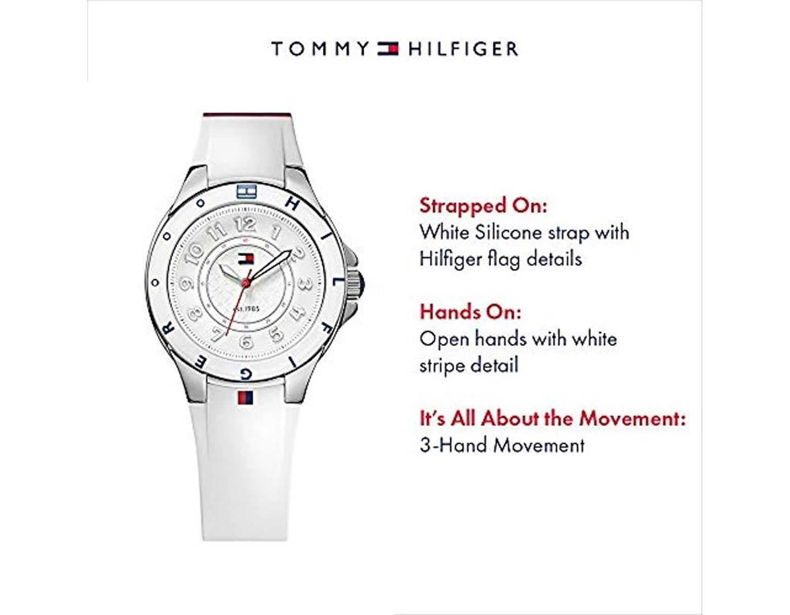 b4b754a41bdf0c Tommy Hilfiger 1781271 Stainless Steel Watch With White Silicone Band in  White - Save 5% - Lyst