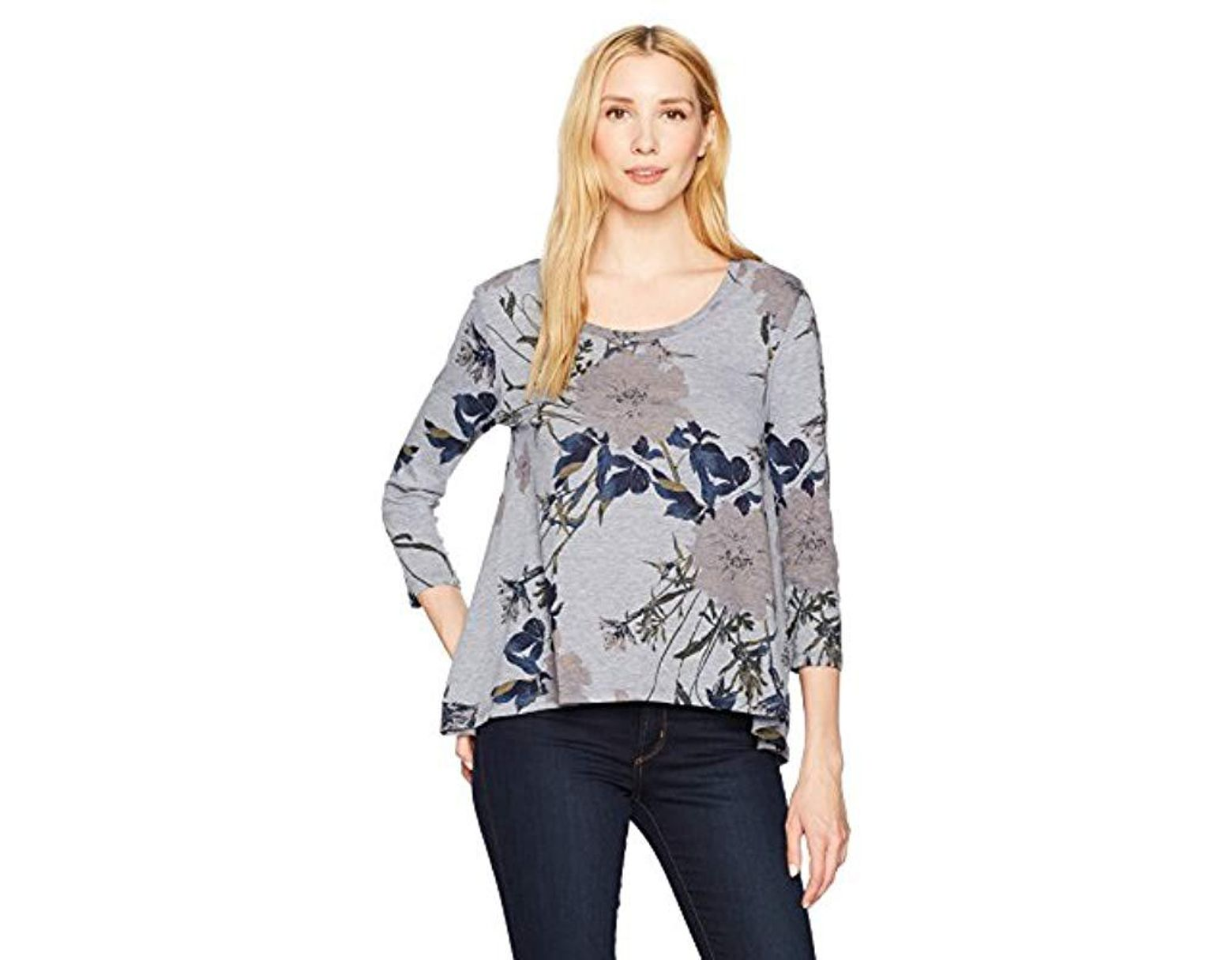ce9860538 Lucky Brand Garden Floral Tee in Gray - Save 13% - Lyst