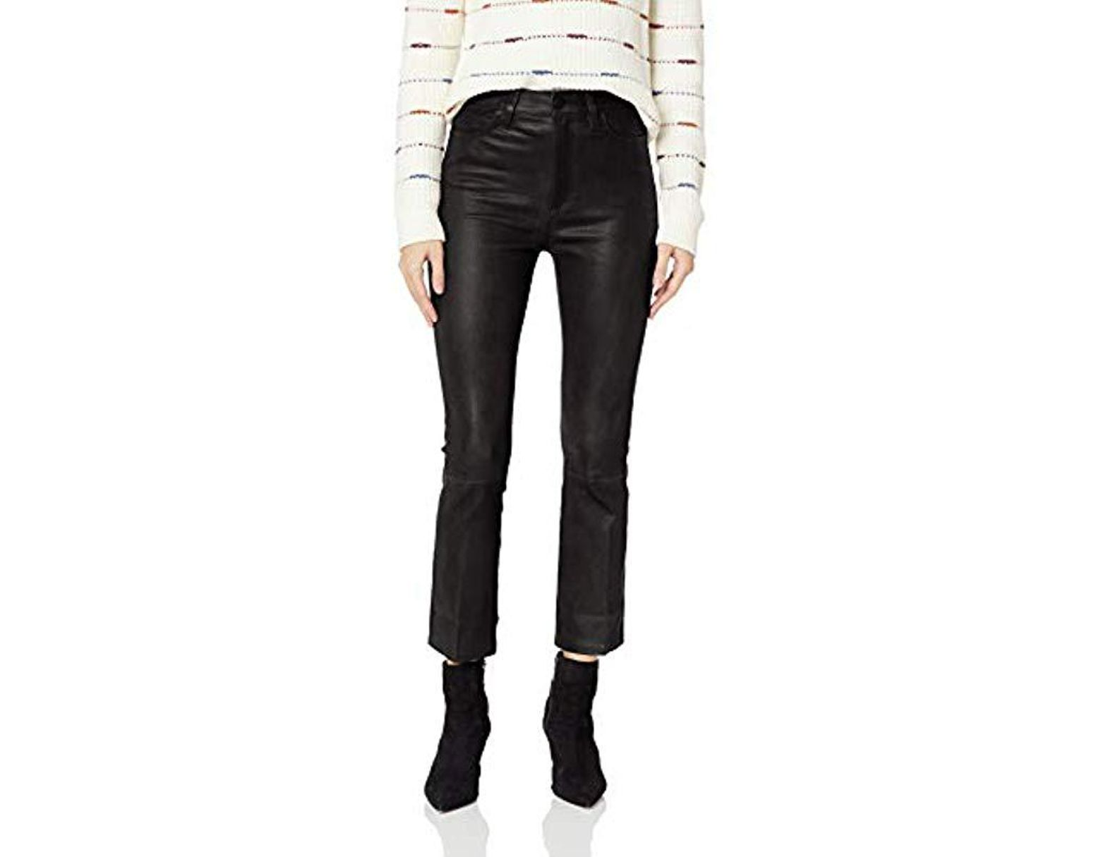 5303258c21 Joe's Jeans Callie High Rise Stretch Leather Cropped Boot Jean in Black -  Lyst