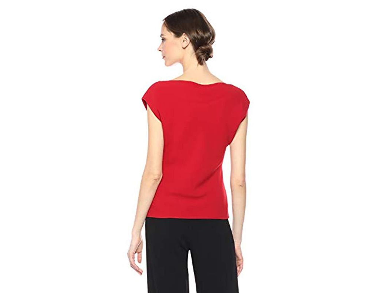 e7fb158683 Theory Sleeveless Draped Boatneck Top in Red - Lyst