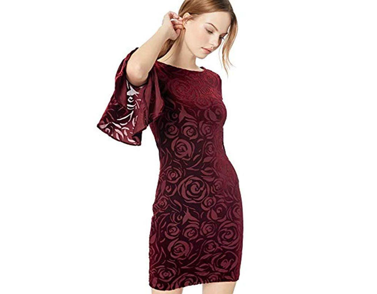41201b2d Calvin Klein Petite Bell Sleeve Velvet Sheath Dress in Red - Lyst