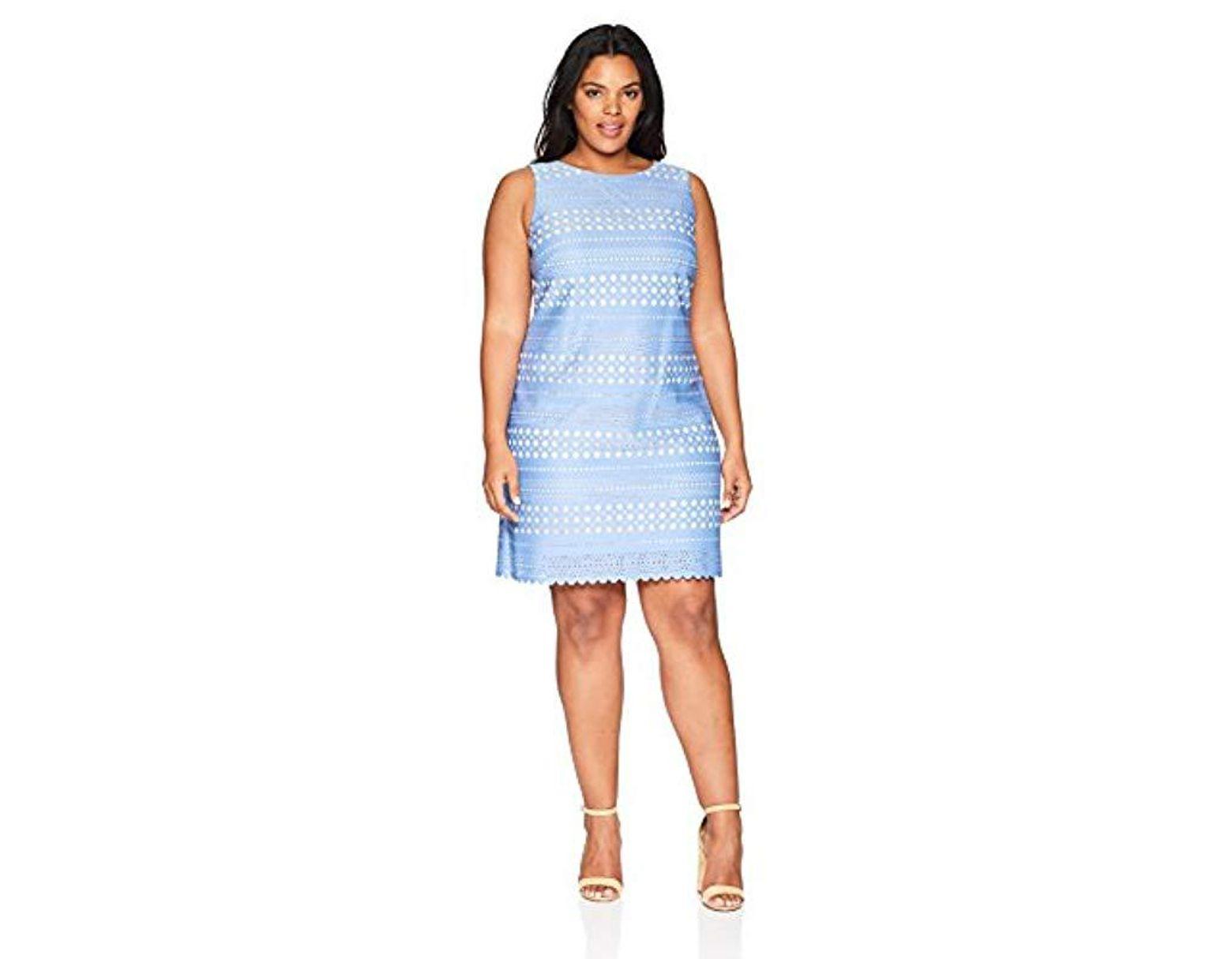 b19f5a99 Eliza J Plus Size Laser Cut Shift Dress in Blue - Save 7% - Lyst