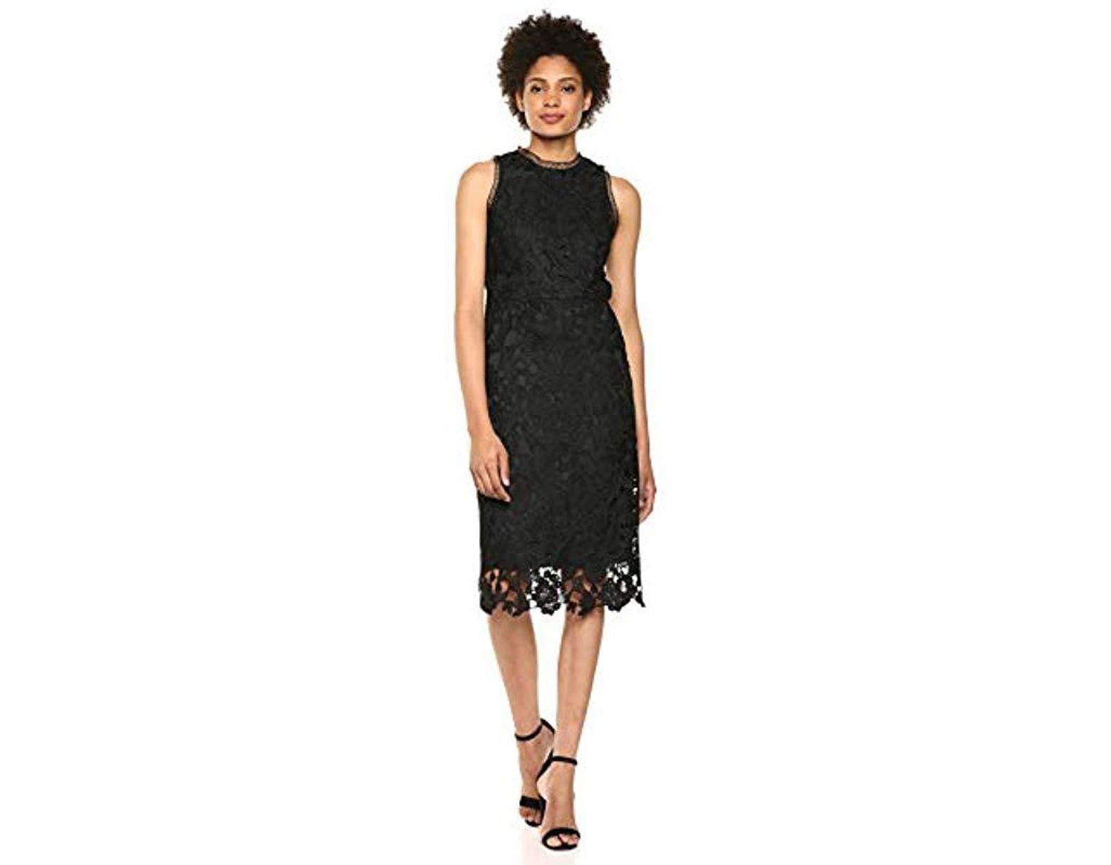 0e6012bdaa7a1 Sam Edelman Sleeveless Peacock Lace High Neck Midi Dress in Black - Lyst