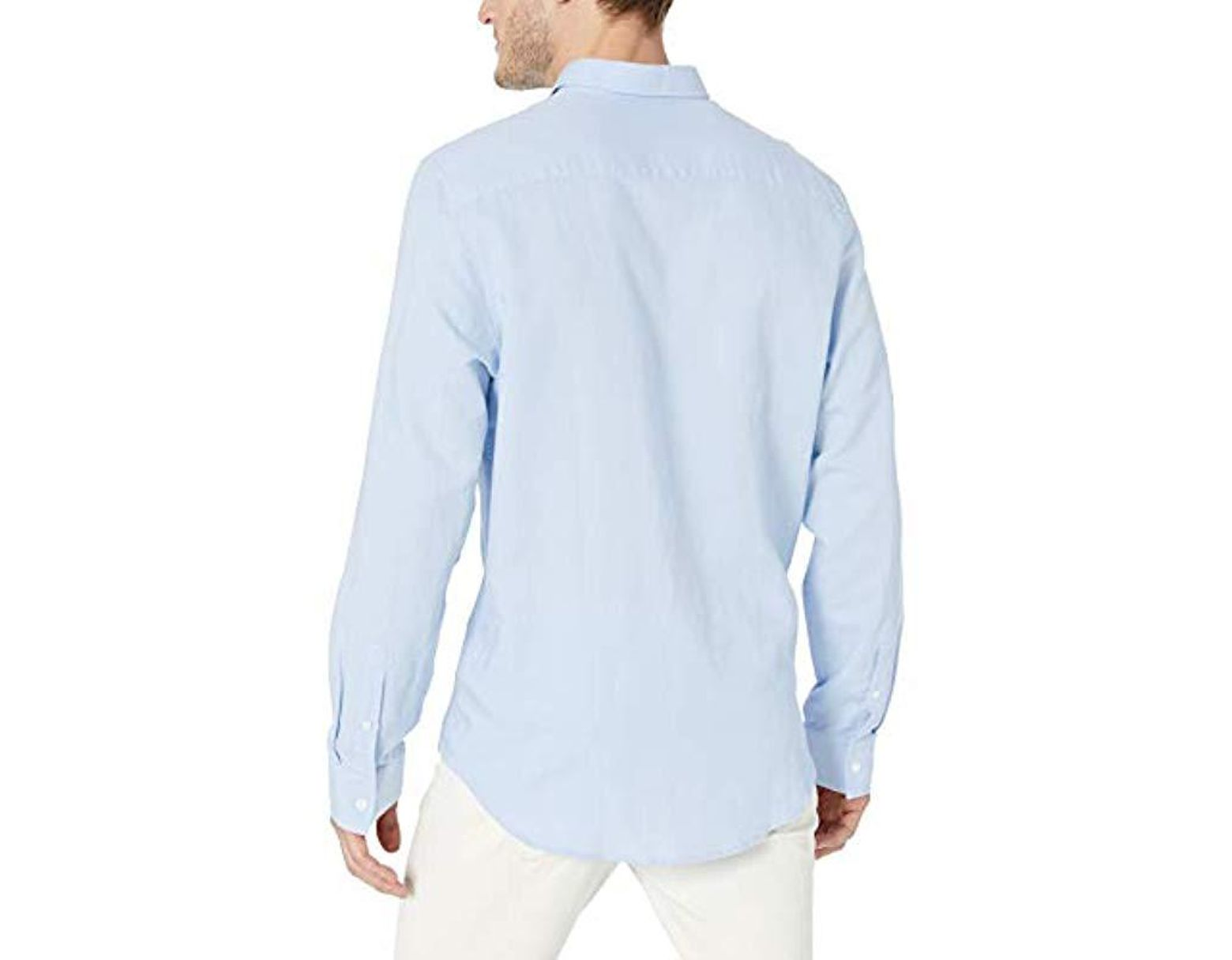 65a13965ab1f Lyst - Calvin Klein Long Sleeve Lightweight Cotton Linen Button Down Shirt  in Blue for Men