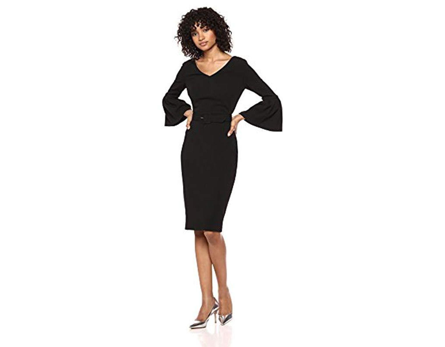 6d0414c1 Calvin Klein V-neck Bell Sleeve Sheath With Belt Dress in Black - Lyst