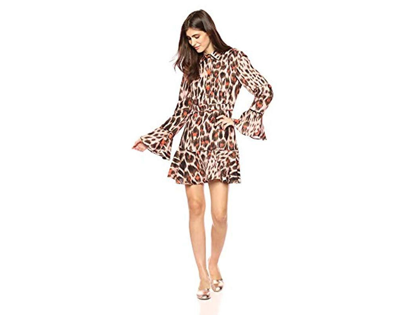 bac2f0986379 C/meo Collective Actuate Leopard Print Long Sleeve Collared Mini Dress -  Lyst
