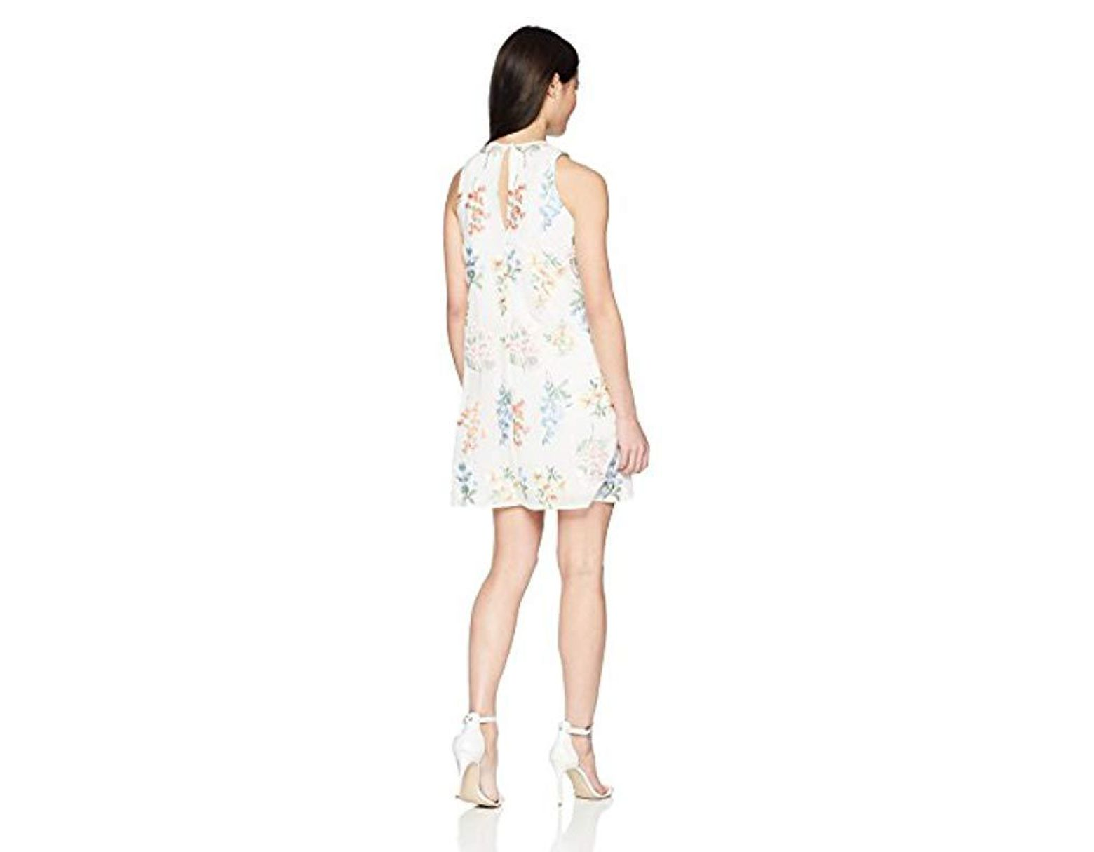 9a630f8ca65edc Calvin Klein Petite Chiffon Floral Embroidered Trapeze Dress in White -  Save 26% - Lyst