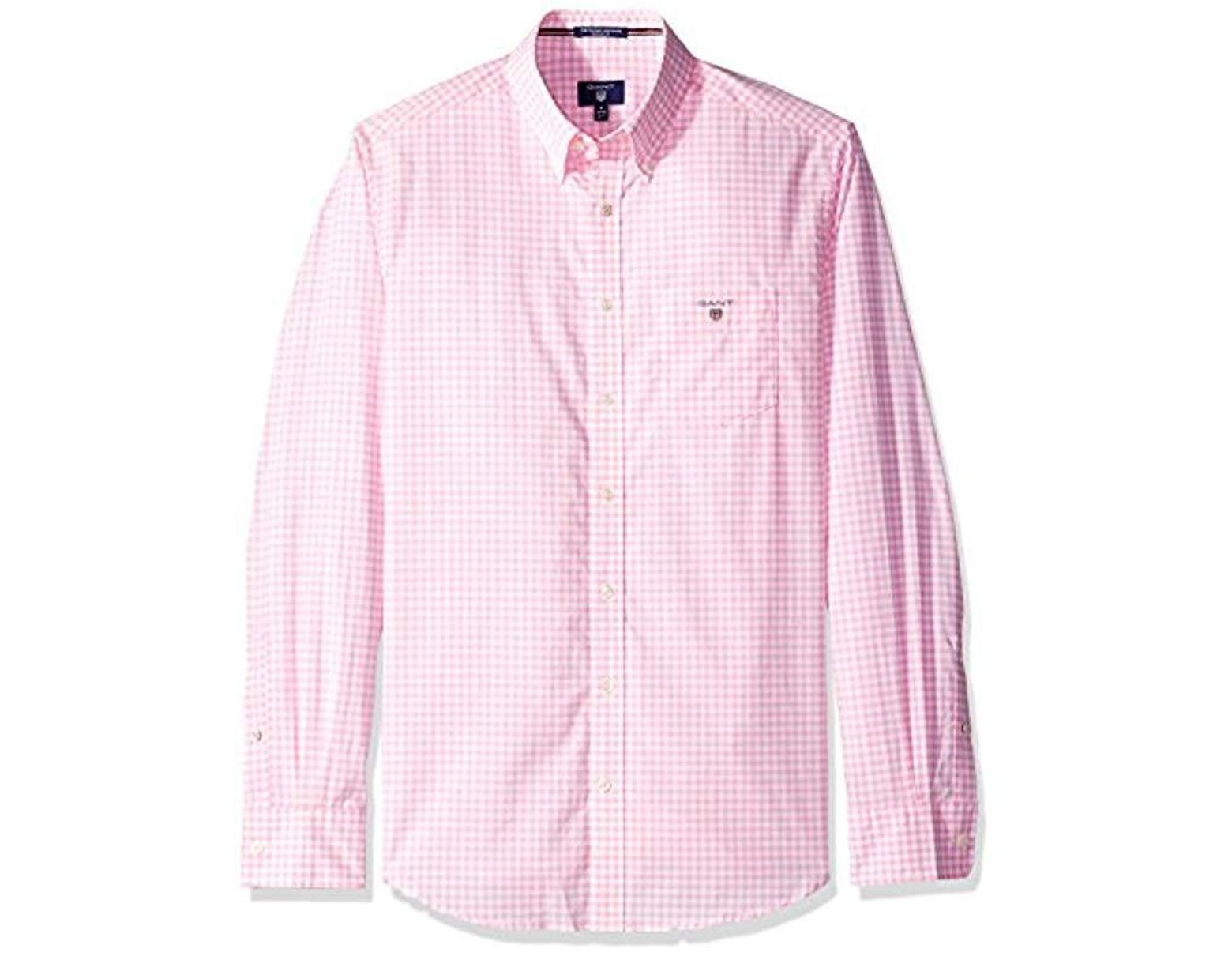 5aa0a9c91c GANT Classic Broadcloth Gingham Shirt in Pink for Men - Save 60% - Lyst