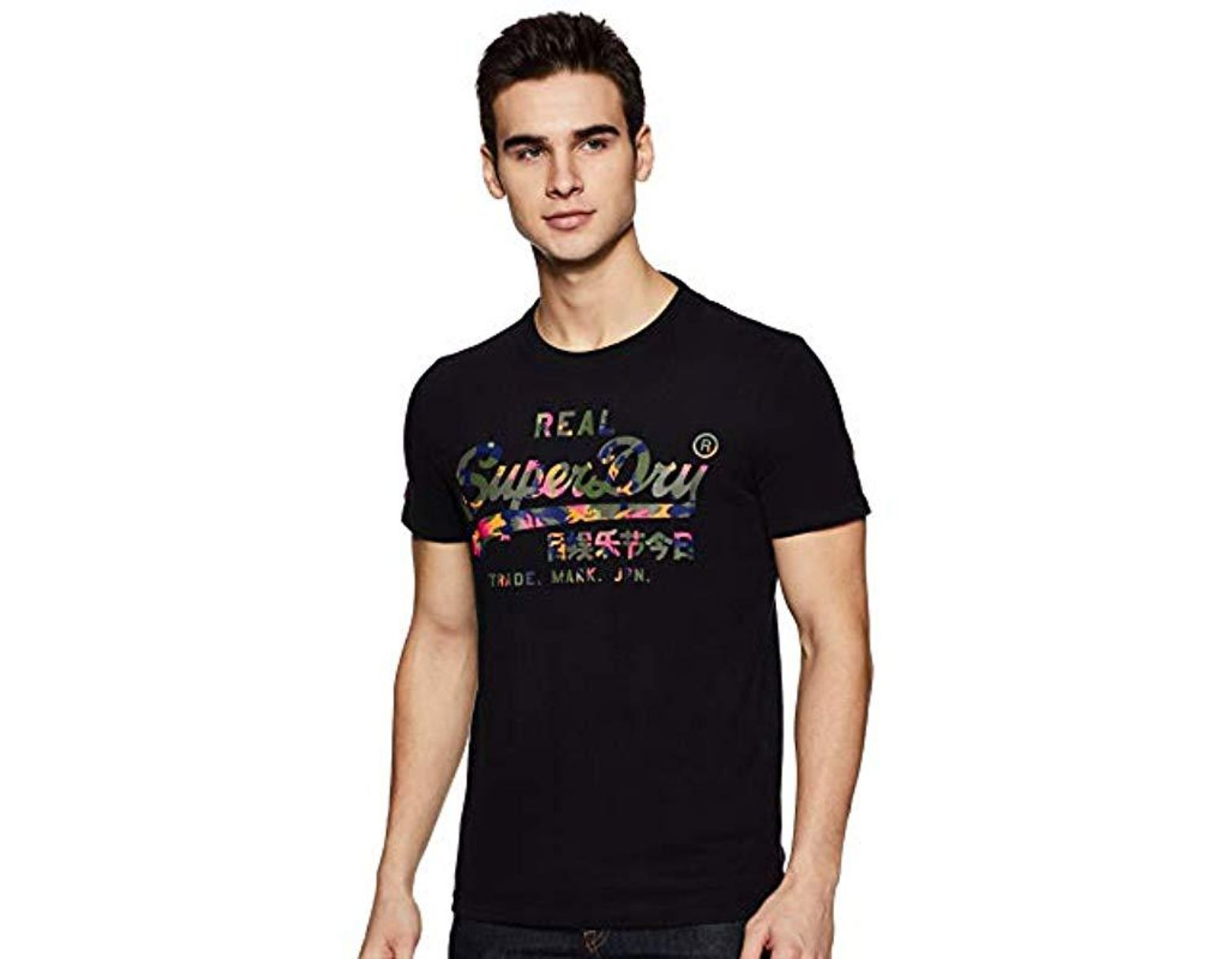 fd83f52eeaab5 Superdry Vintage Logo Layered Camo T-shirt in Black for Men - Save ...