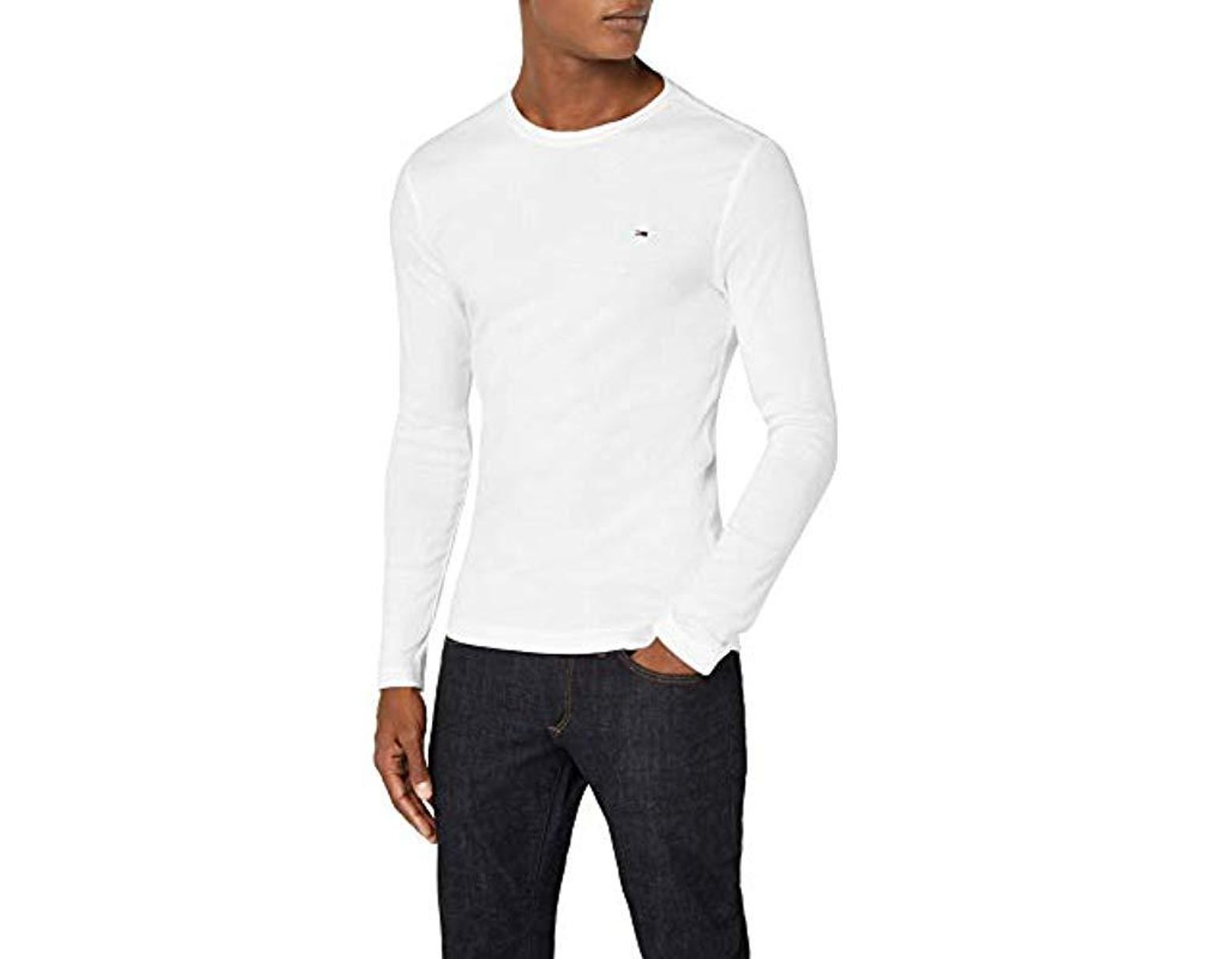 39f69228 Tommy Hilfiger Original Rib V-neck Long Sleeve Top in White for Men - Lyst