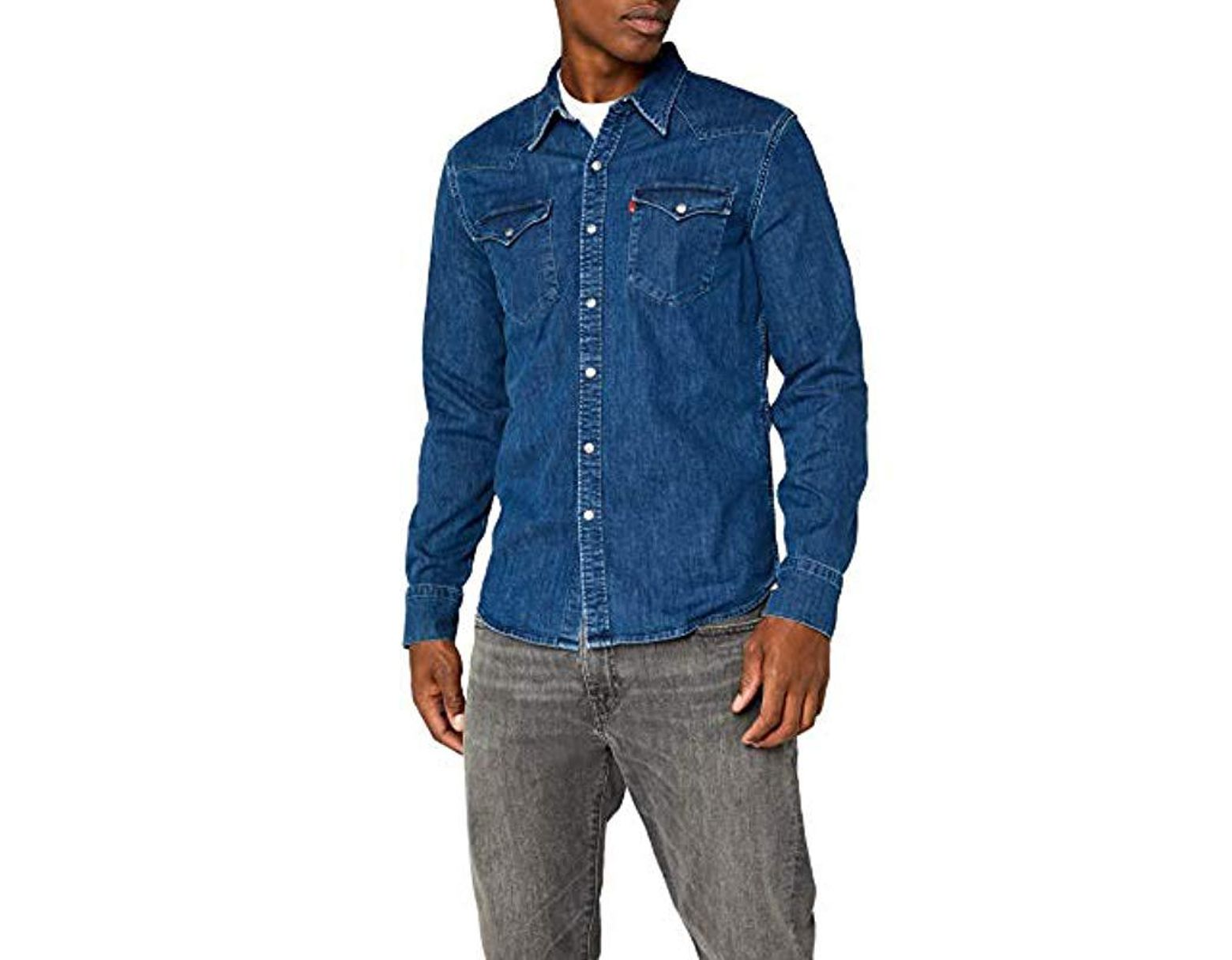 abe7554cd30 Levi's Barstow Western Slim Fit Long Sleeve Casual Shirt in Blue for Men -  Save 9% - Lyst
