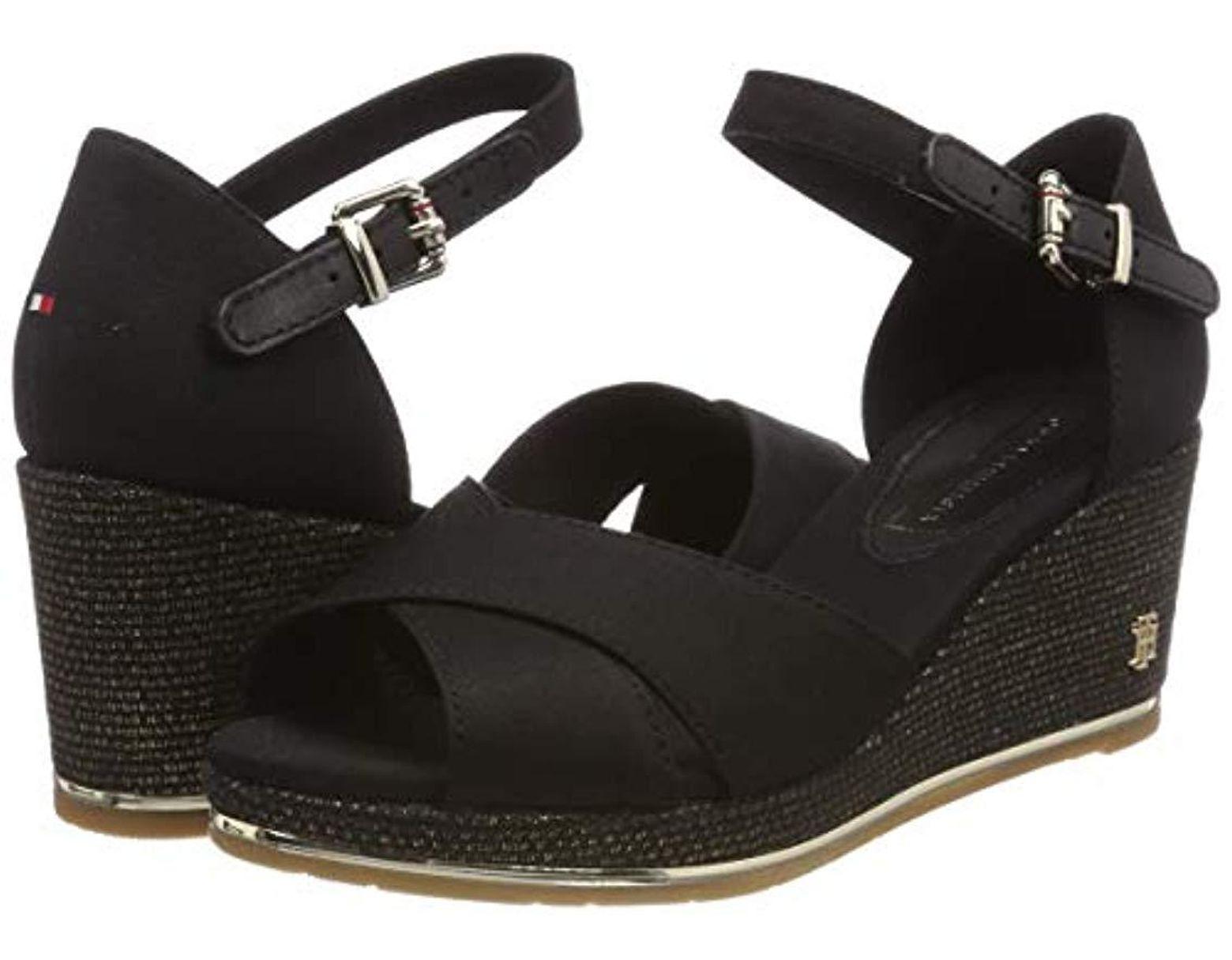 a1e57f5e25 Tommy Hilfiger Feminine Mid Wedge Sandal Basic Platform in Black - Save 39%  - Lyst