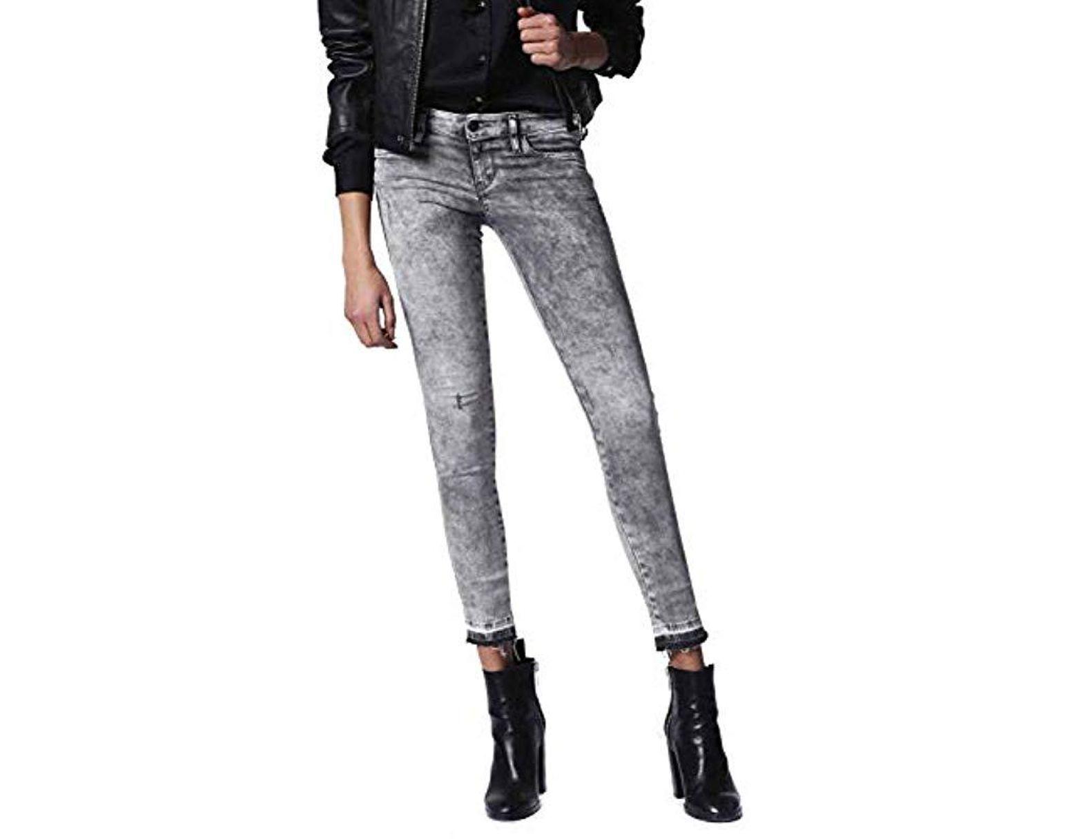 f8f380f766c DIESEL Skinzee Low-c Pantaloni Skinny Jeans in Gray - Lyst