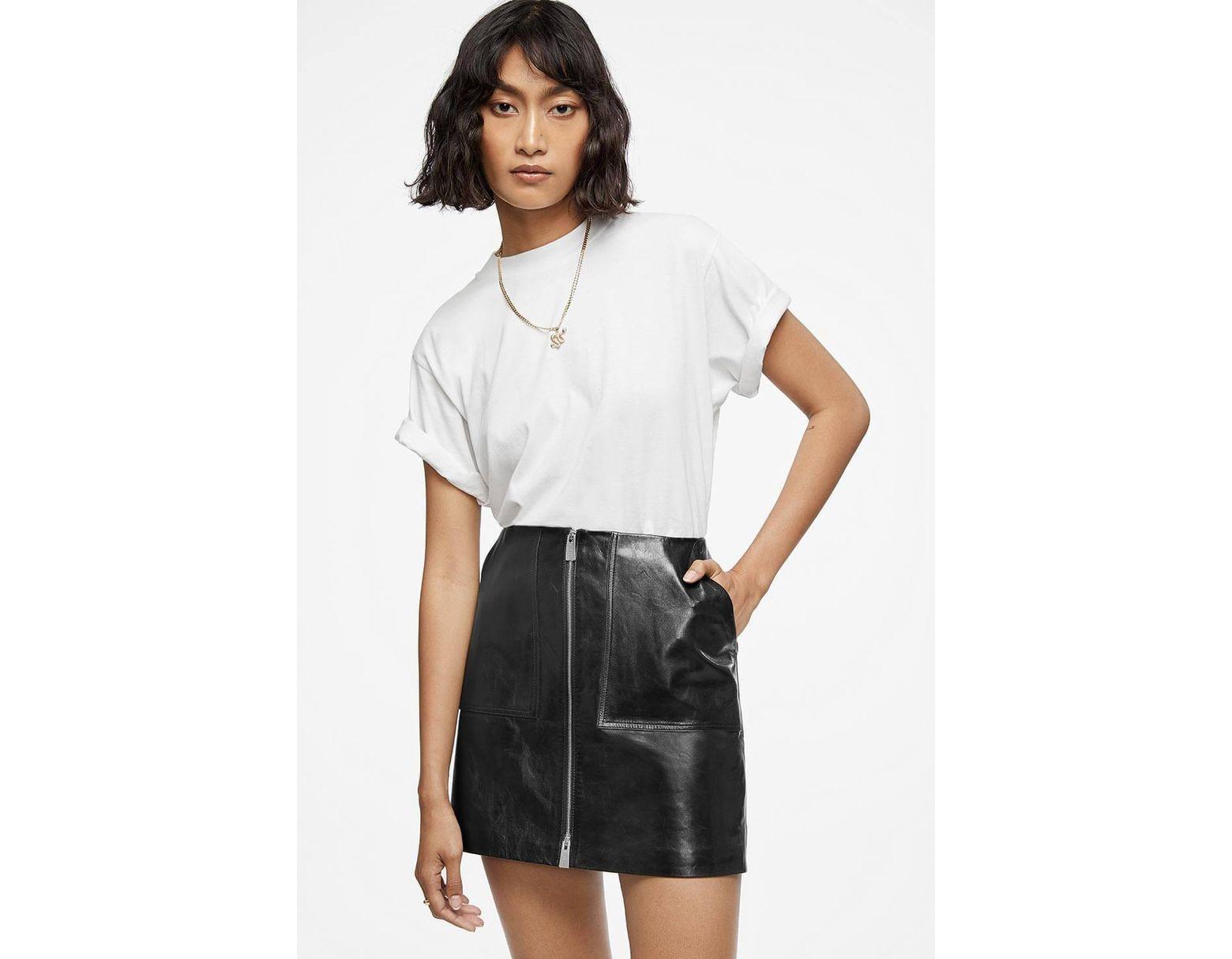 2ef829f42cb3 Anine Bing Sally Leather Skirt in Black - Lyst