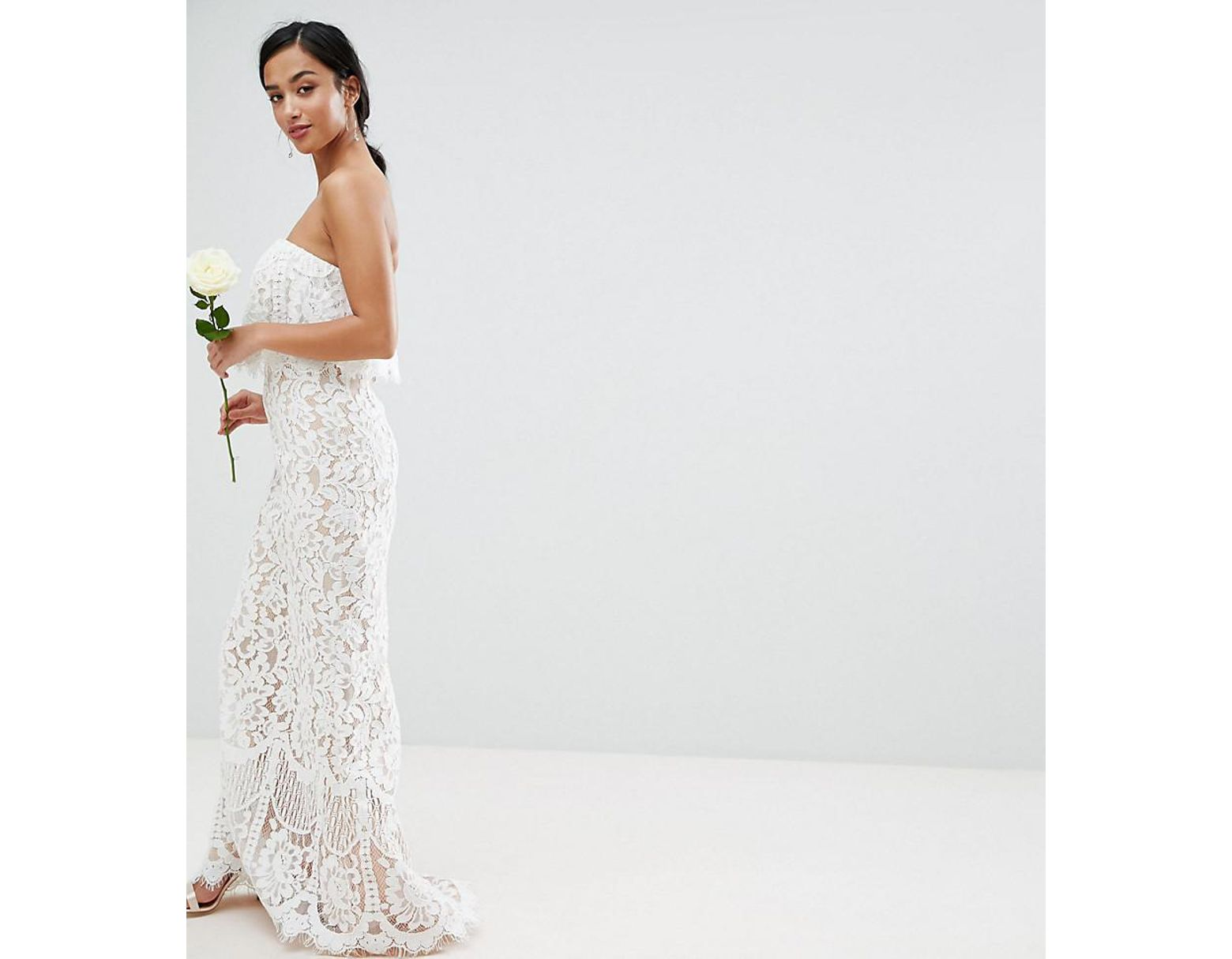 f424a0f43bc0 Jarlo All Over Lace Bandeau Maxi Dress in White - Lyst