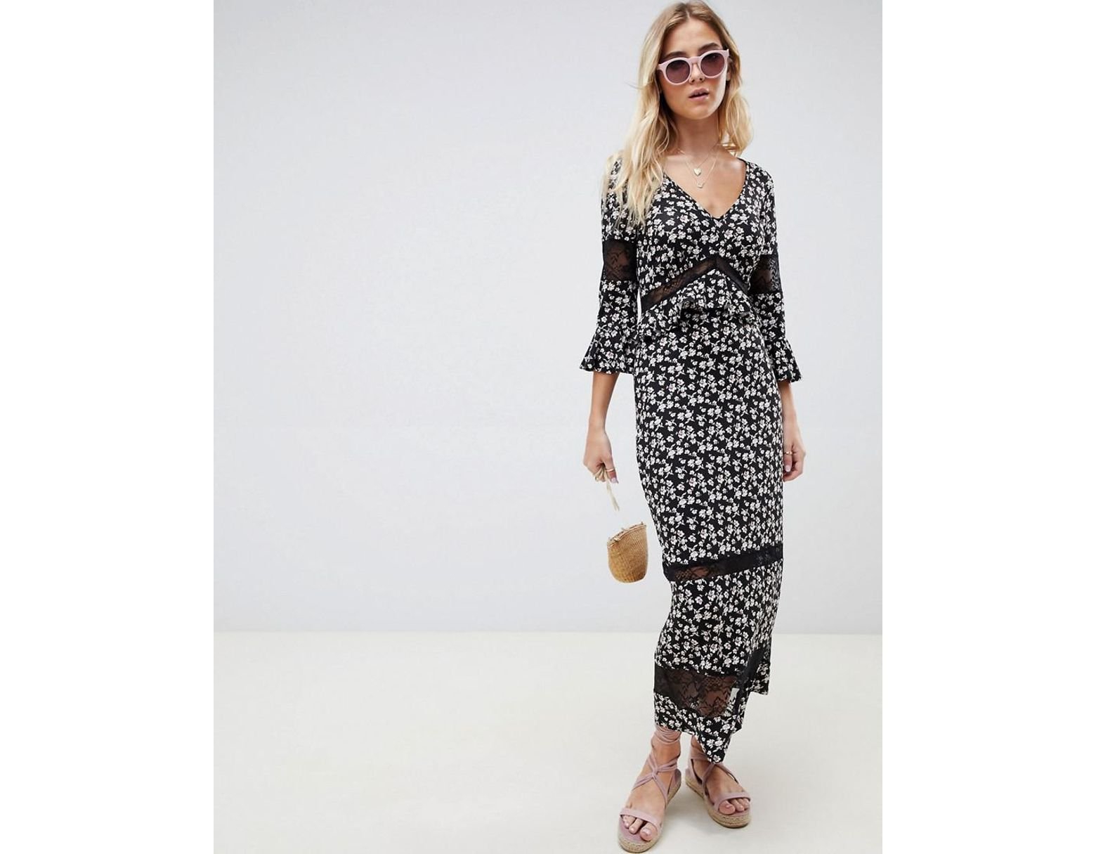 44e9628af2cf3 ASOS City Maxi Tea Dress With Lace Inserts In Ditsy Print - Lyst