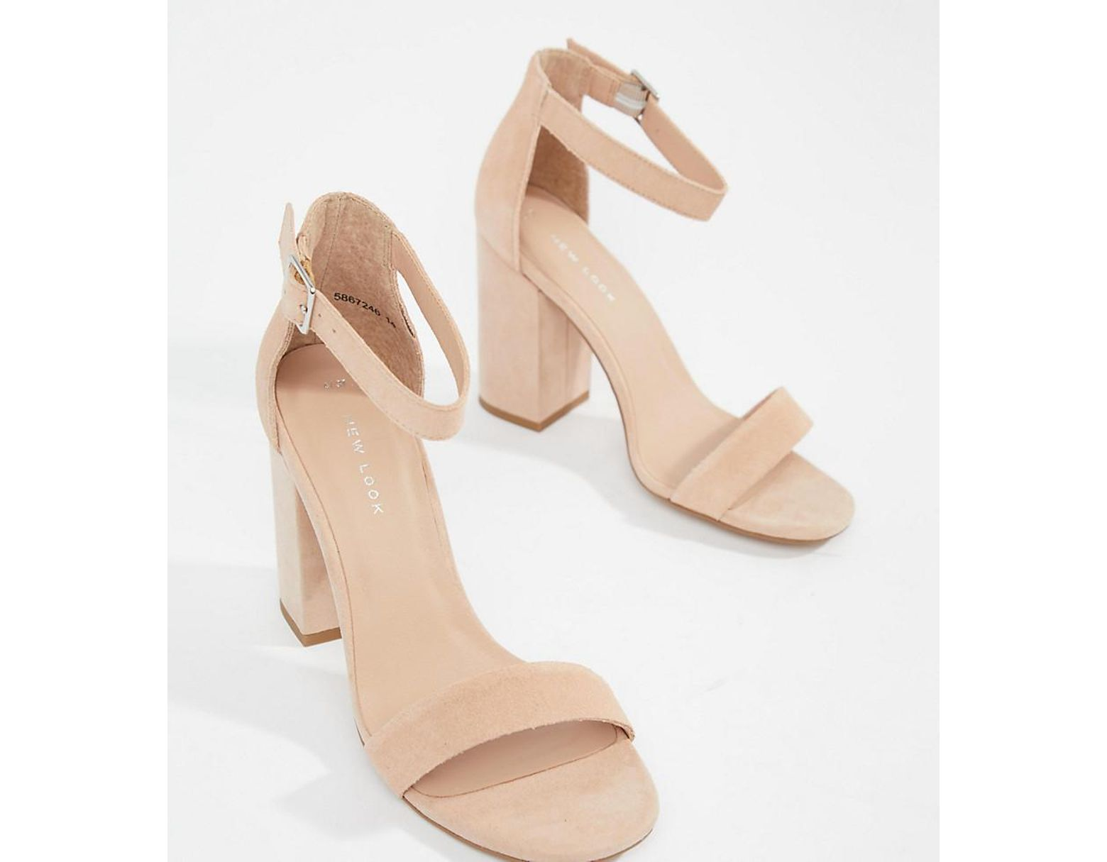 589e71c222 New Look Real Suede Barely There Block Heeled Sandal in Natural - Lyst
