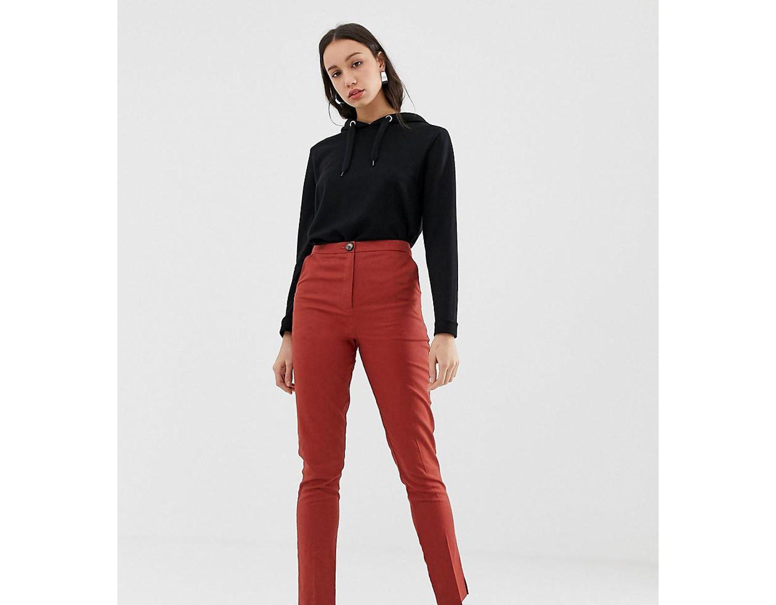 d5b7593519f4 ASOS Asos Design Tall Linen Clean Cigarette Trouser in Red - Lyst