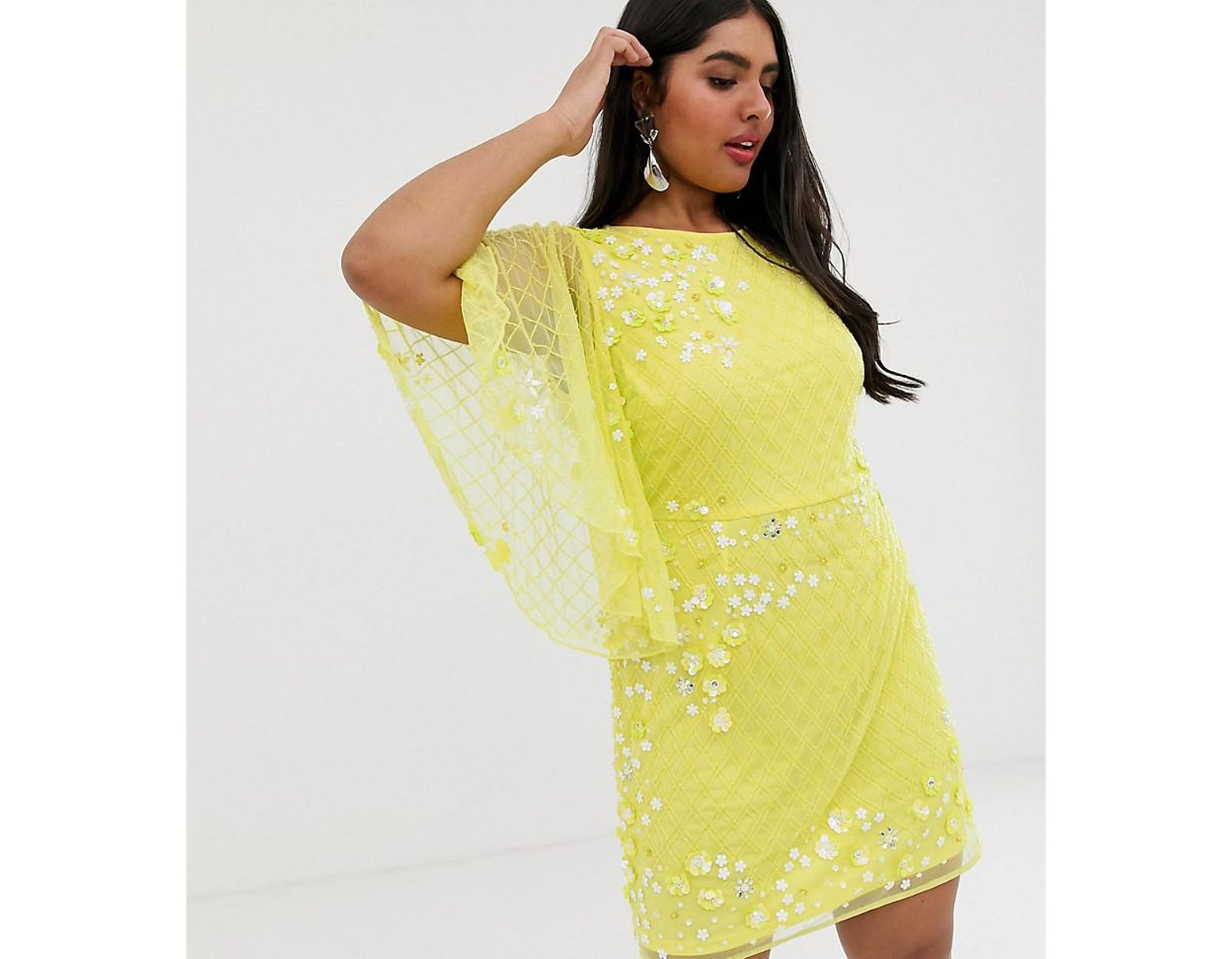 cdccd821be03 ASOS Asos Design Curve Heavily Embellished Mini Shift Dress in Yellow - Lyst