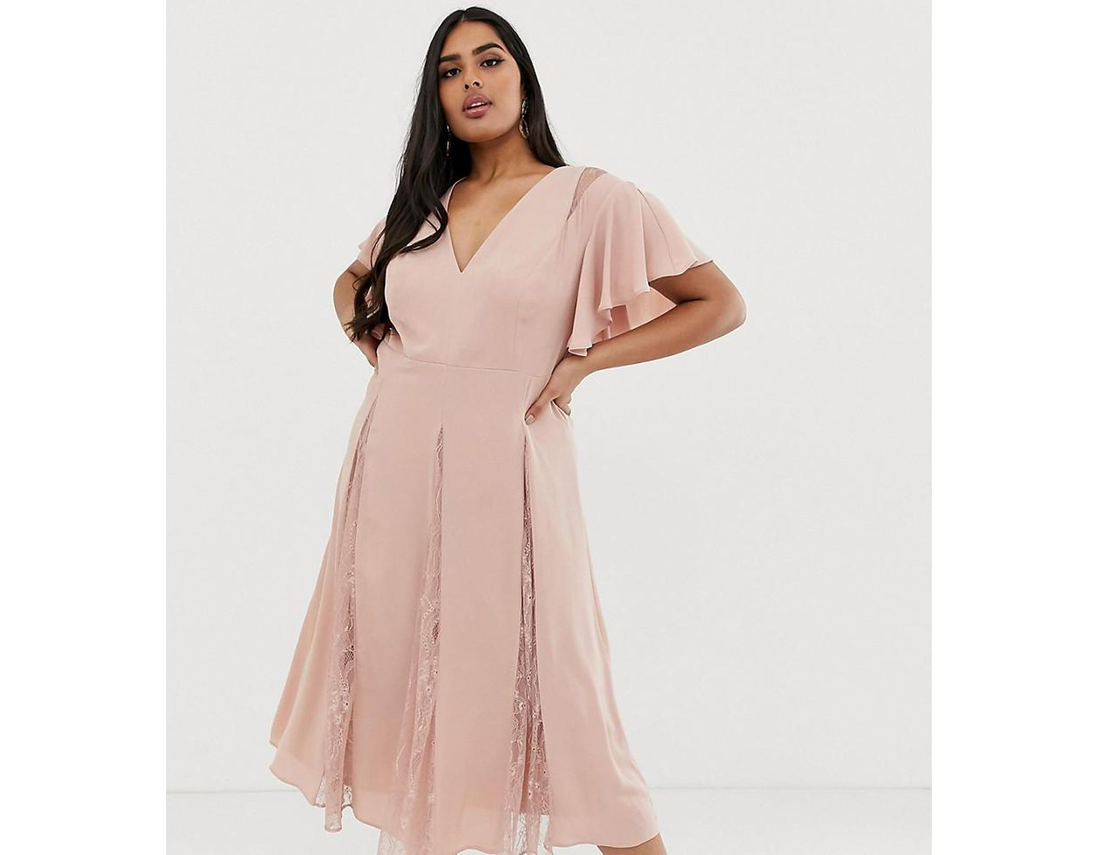 a238875b64910 ASOS Asos Design Curve Midi Dress With Godet Lace Inserts in Pink - Lyst