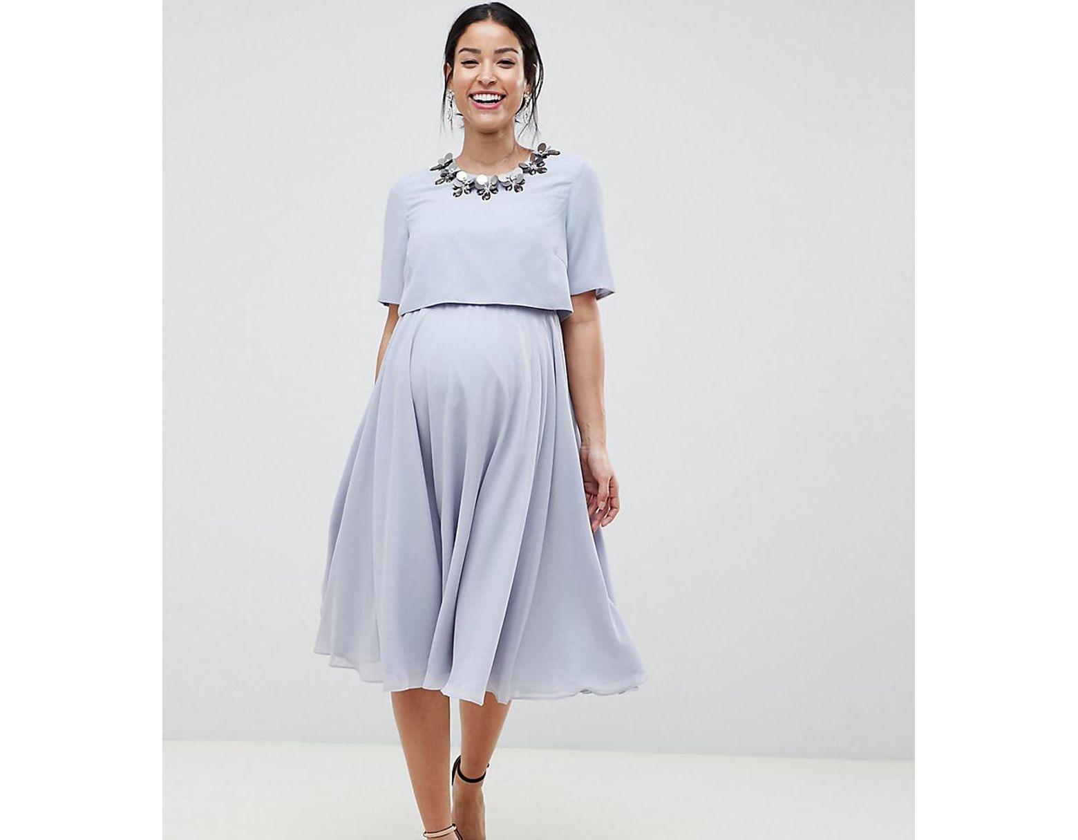 639e592f745e2d ASOS Asos Design Maternity Nursing 3d Embellished Crop Top Midi Skater Dress  in Blue - Lyst