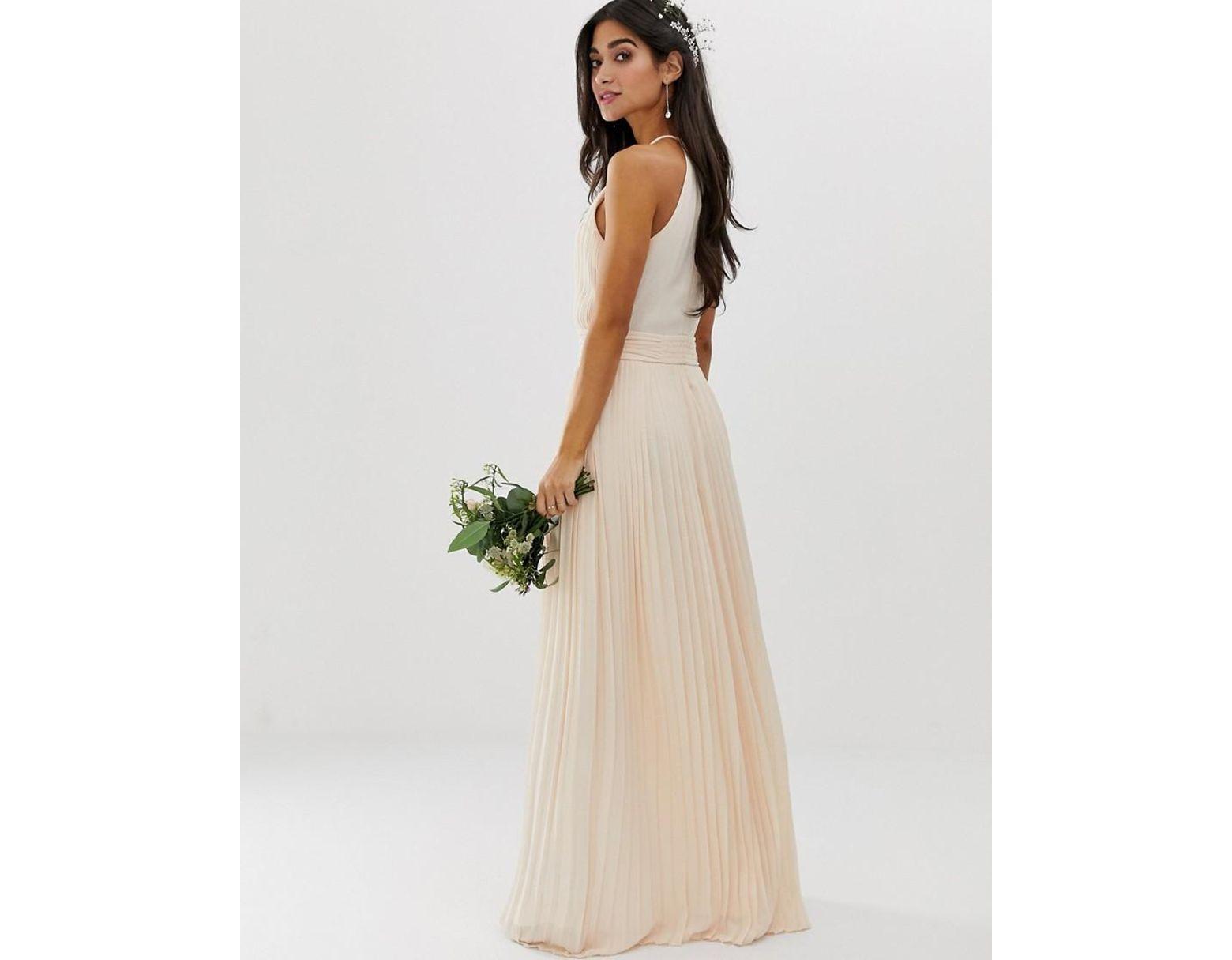 633586d1e88 Tfnc High Neck Pleated Maxi Bridesmaid Dress - Gomes Weine AG