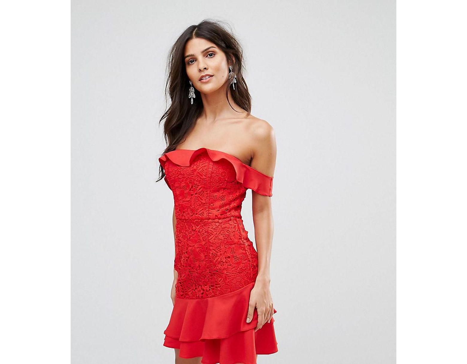9a52ead1a20 Jarlo Off Shoulder Mini Dress With Layered Skirt Detail in Red - Lyst