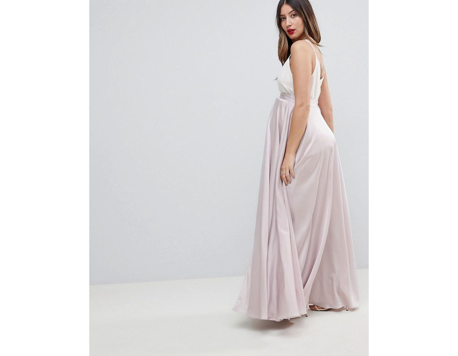 d5372b310 ASOS Asos Design Maternity Satin Maxi Skirt With Center Front Split in  Metallic - Lyst