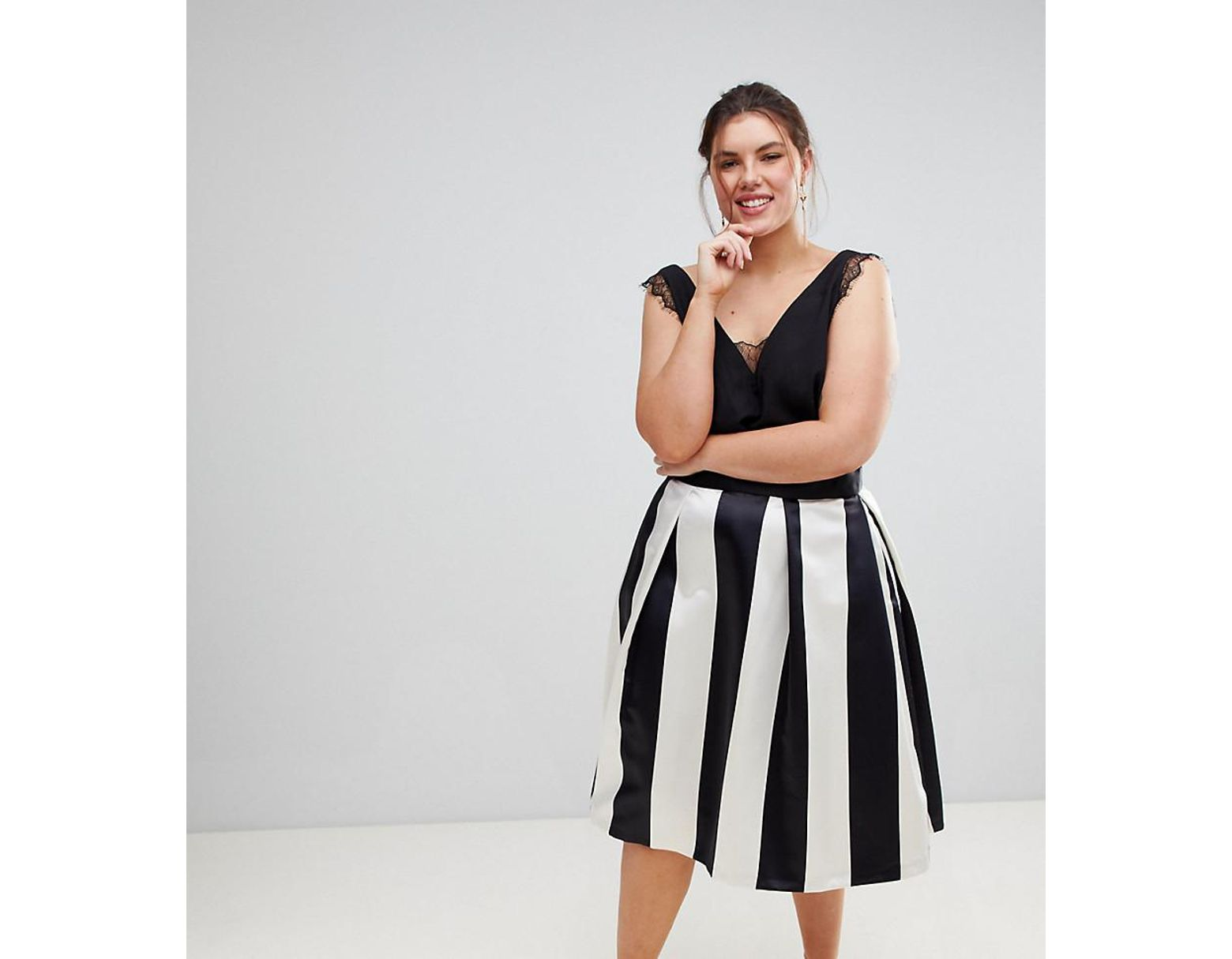 bc858748d6 Closet London Plus Full Prom Sateen Midi Skirt In Stripe Print - Lyst