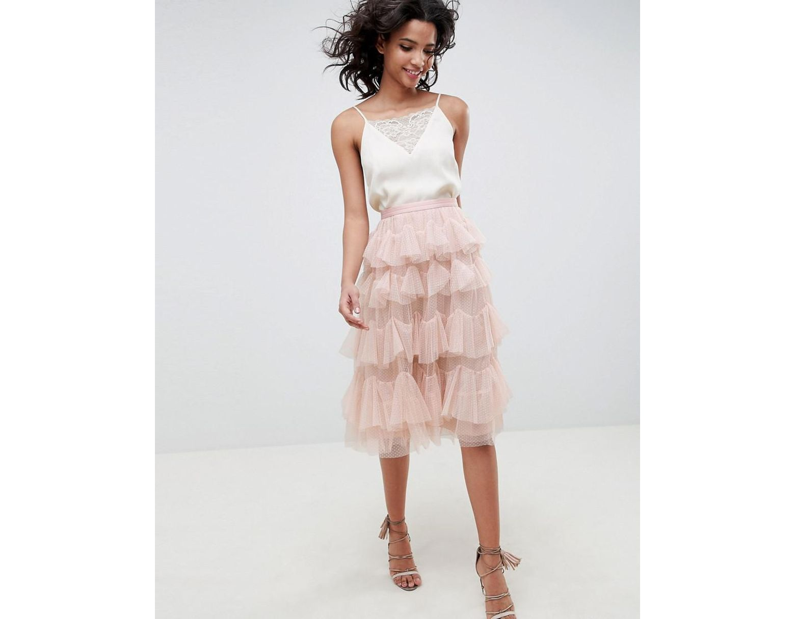 23a038ec381646 Needle & Thread Tiered Tulle Midi Skirt In Rose in Pink - Lyst