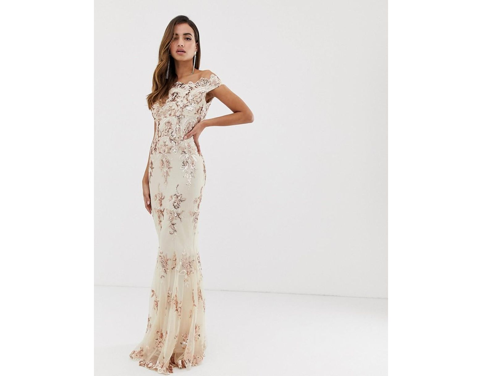 c620c3840d Goddiva Off Shoulder Bardot Placement Lace Maxi Dress In Blush And Gold -  Lyst