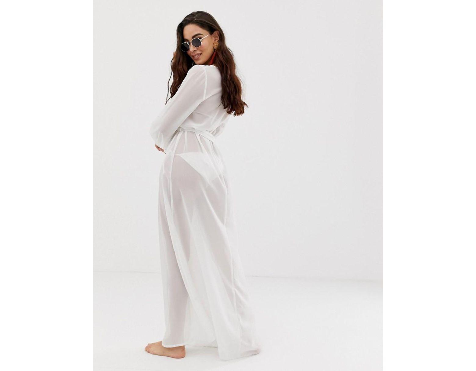 6f11dc54fe4 ASOS Recycled Long Sleeve Wrap Tie Chiffon Maxi Beach Kimono In White in  White - Lyst