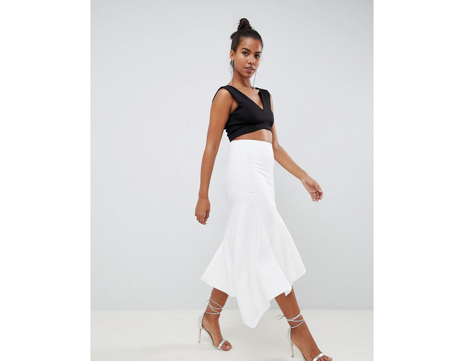 1ea3181ea ASOS Tailored Pencil Skirt With Asymmetric Ruffle in White - Lyst