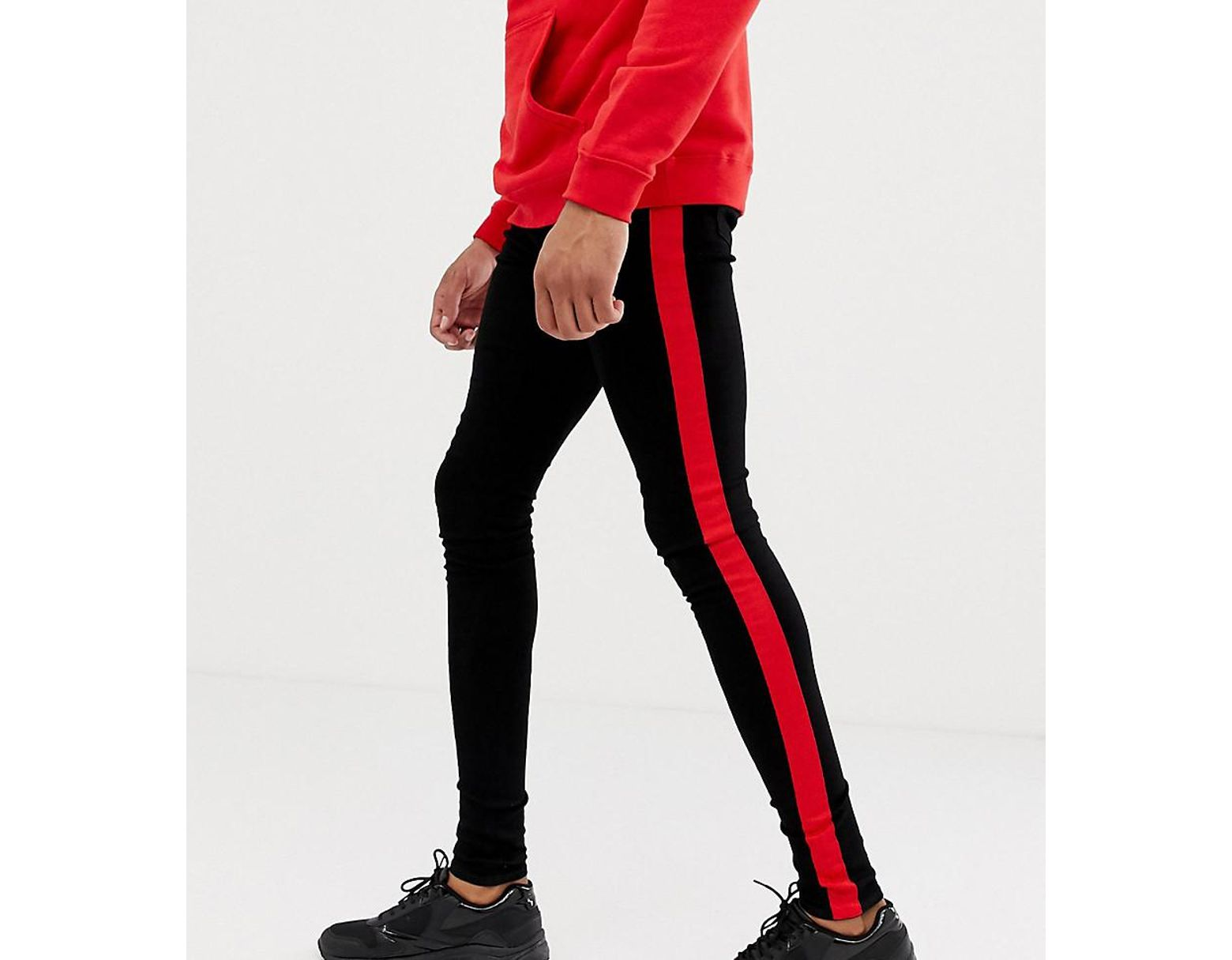 d09755a330eebd Sixth June Super Skinny Jeans In Black With Red Side Stripe Exclusive To  Asos in Black for Men - Lyst