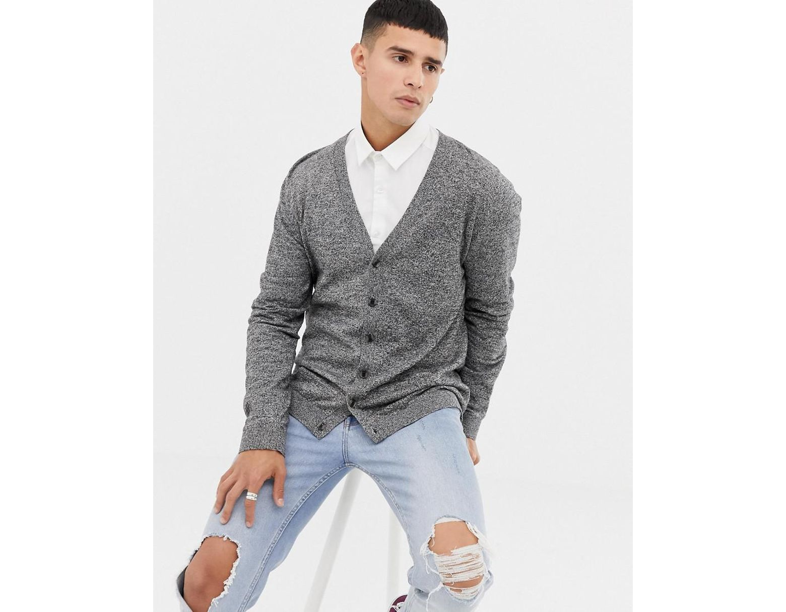 c3e89f1a82c Lyst - ASOS Knitted Cotton Cardigan In Gray Twist in Black for Men