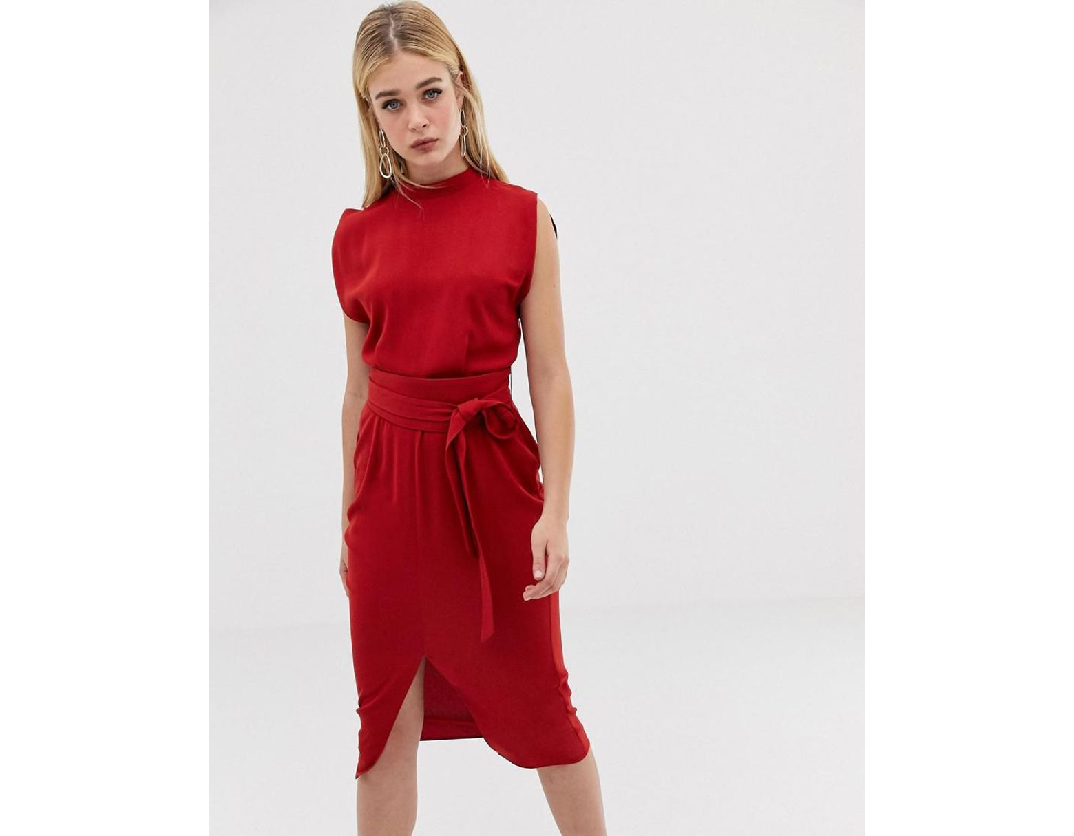 8d06965441 ASOS Split Sleeve Midi Dress With Obi Belt in Red - Lyst