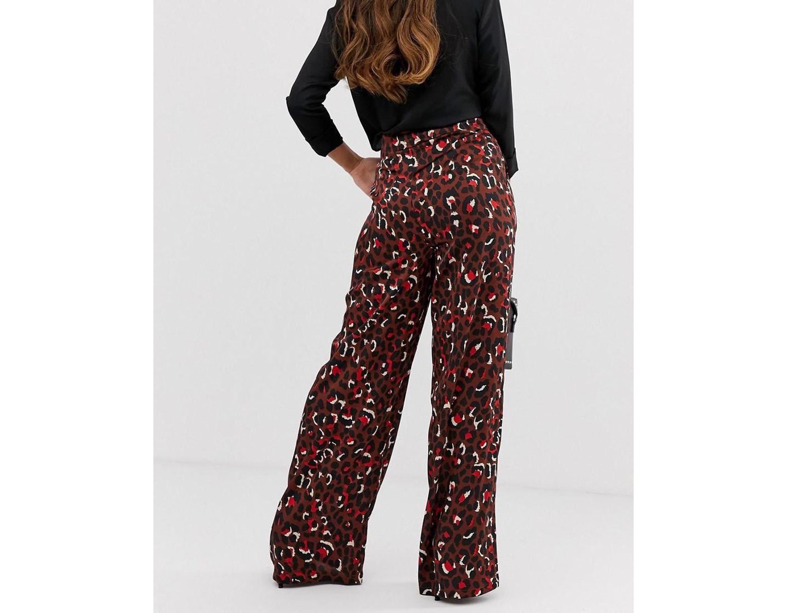 493b1e327350 Missguided Wide Leg Trouser In Chocolate Animal - Lyst