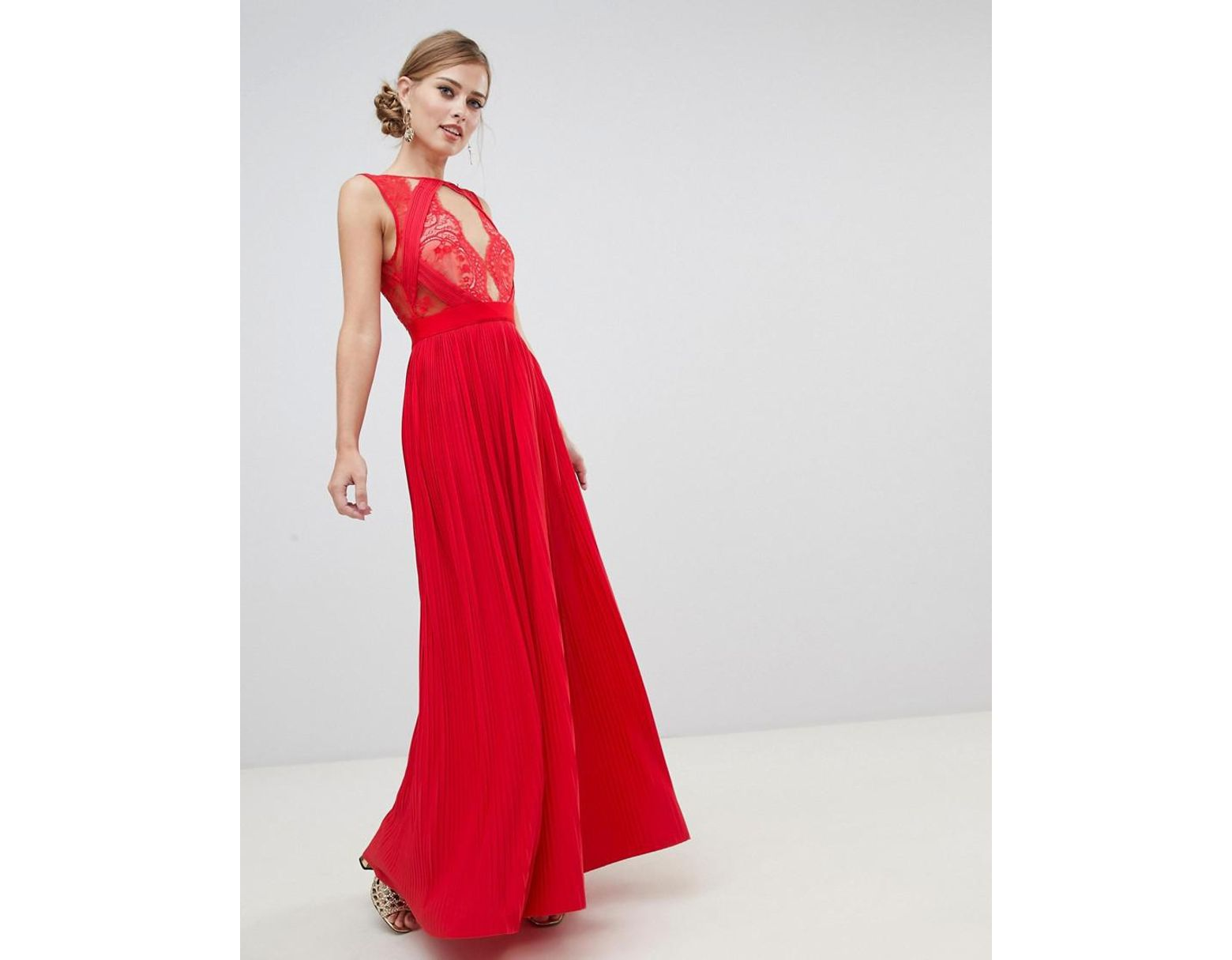 e4a69126401e2 ASOS Premium Scallop Lace Top Pleated Maxi Dress in Red - Lyst