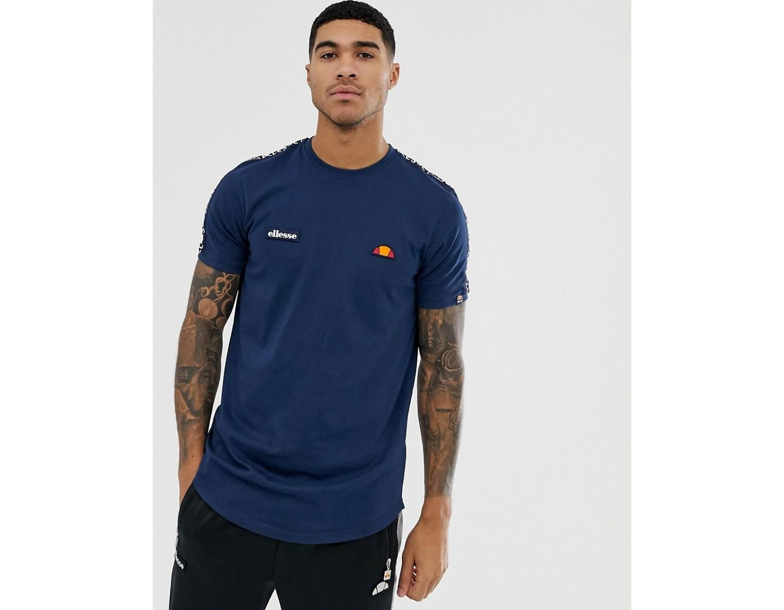 33878c10436 Ellesse Fede T-shirt With Logo Taping In Navy in Blue for Men - Lyst