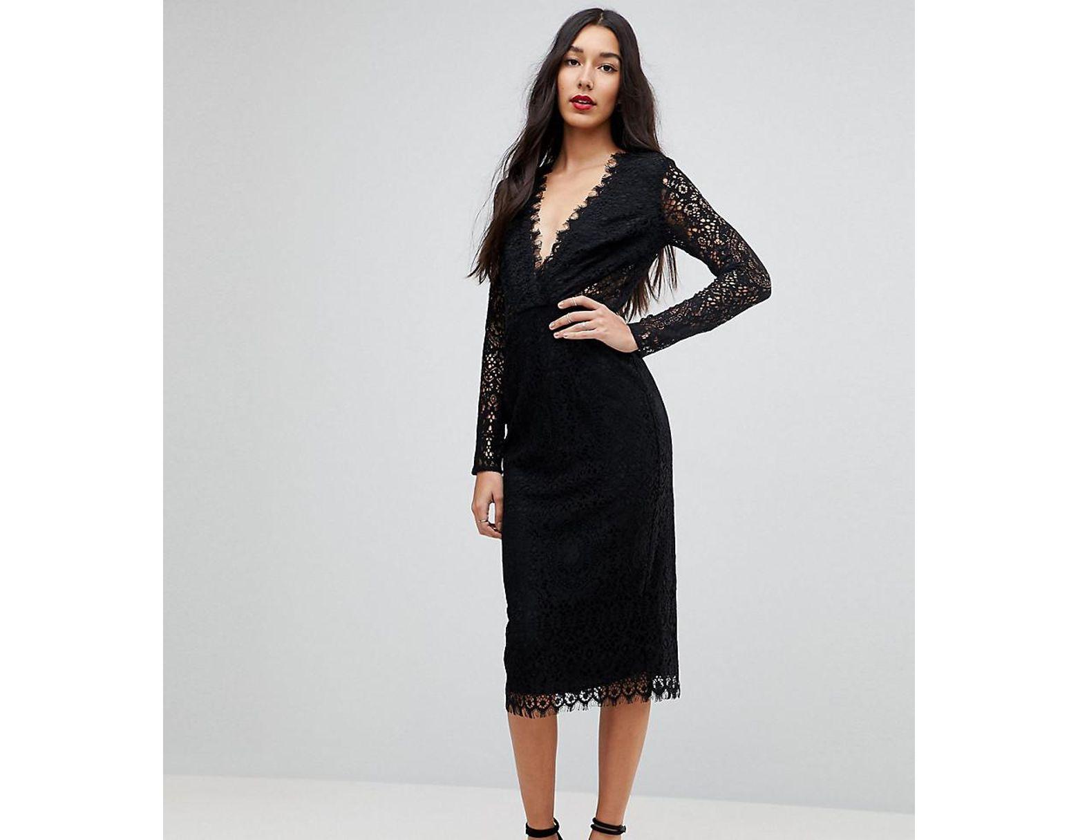 2a977d0a3c878 ASOS Long Sleeve Lace Midi Pencil Dress in Black - Lyst