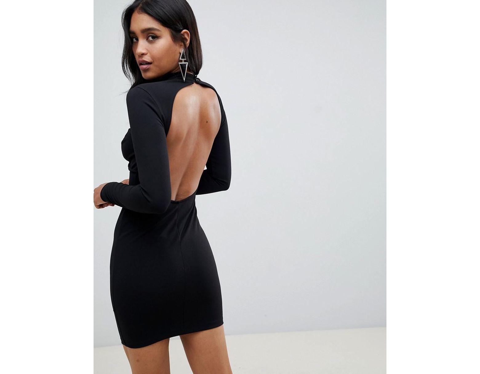 78272a8499d0 ASOS Asos Design Petite Long Sleeve Underwire Mini Bodycon Dress in Black -  Lyst