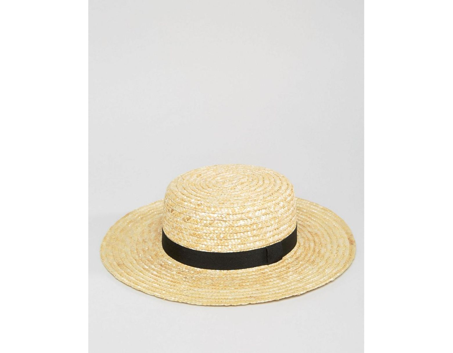 8e5158ca23a81d South Beach Straw Boater Hat With Black Ribbon in Natural - Lyst