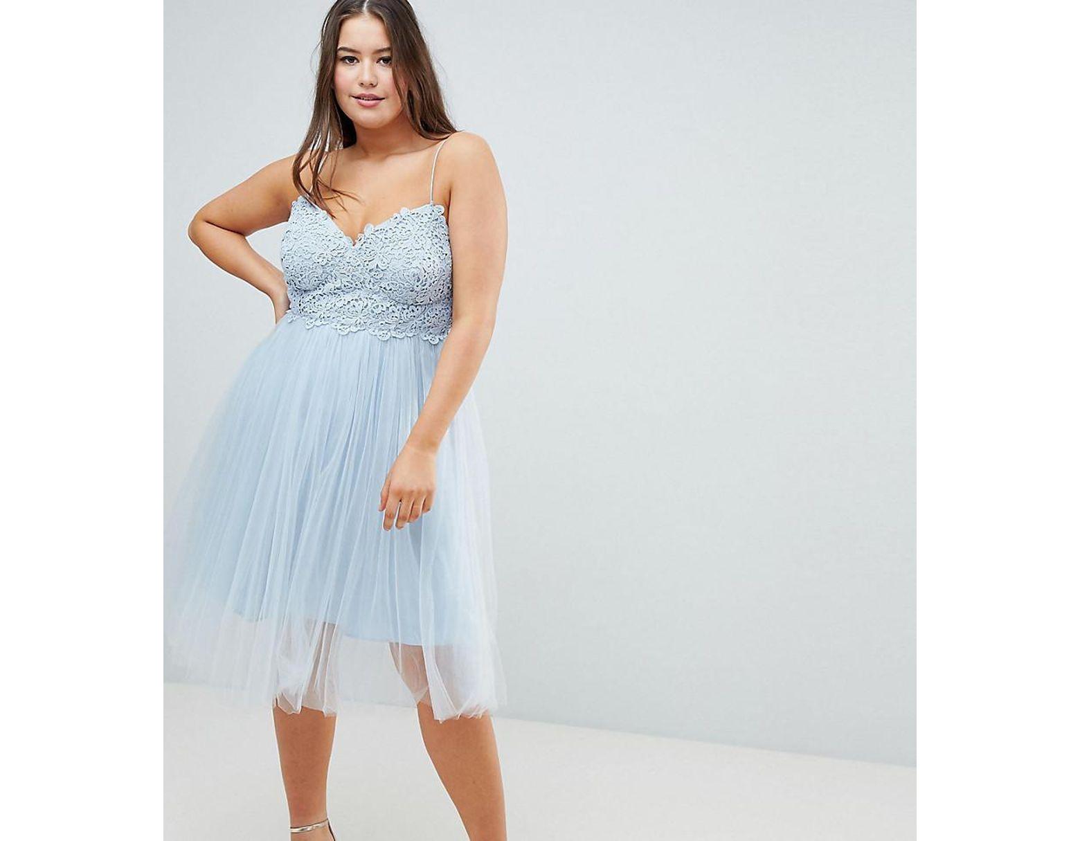 ec7f8f6a1ab ASOS Asos Design Curve Premium Lace Cami Top Tulle Midi Dress in ...
