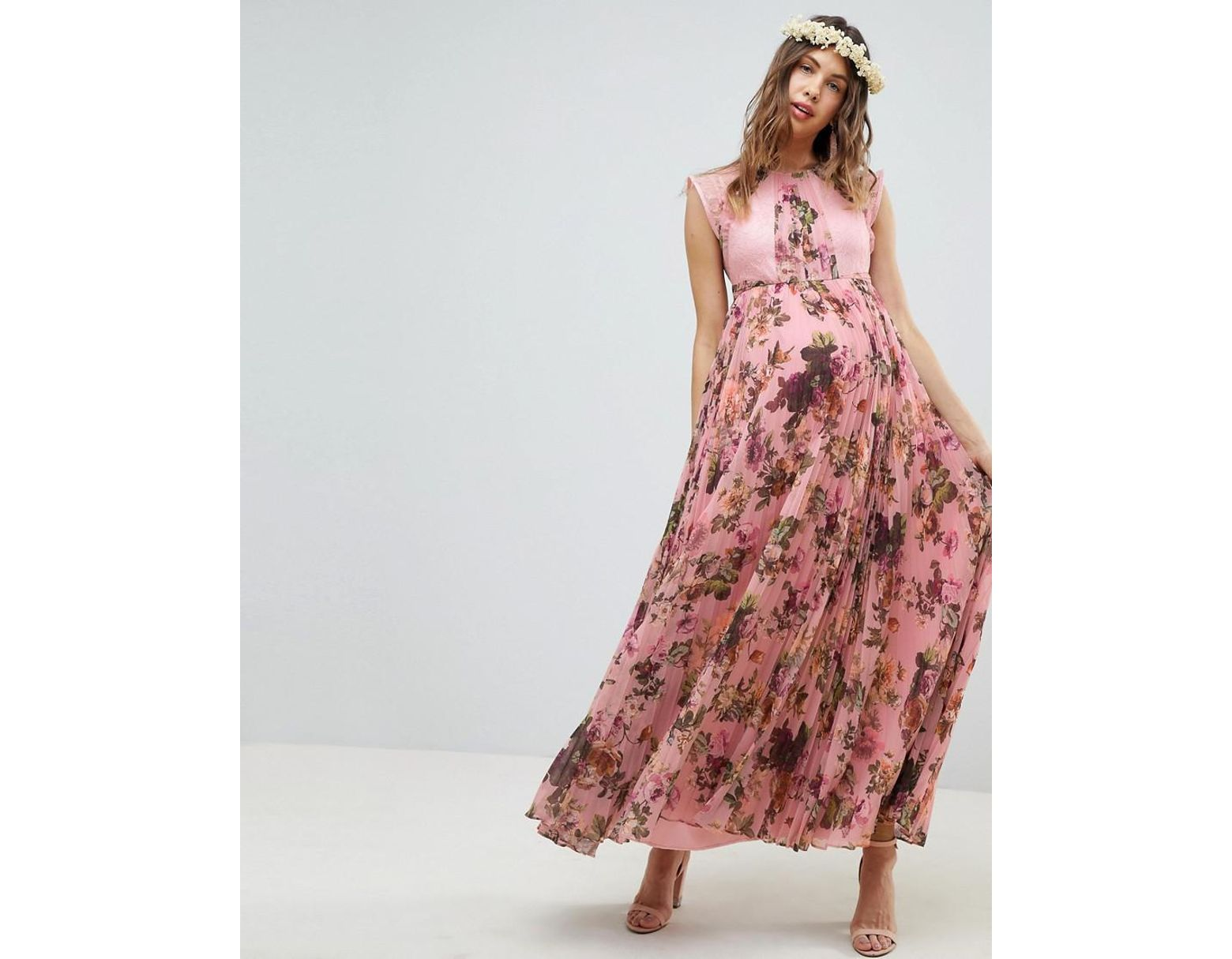 70d9549309d Floral Short Sleeve Maternity Maxi Dress - Data Dynamic AG