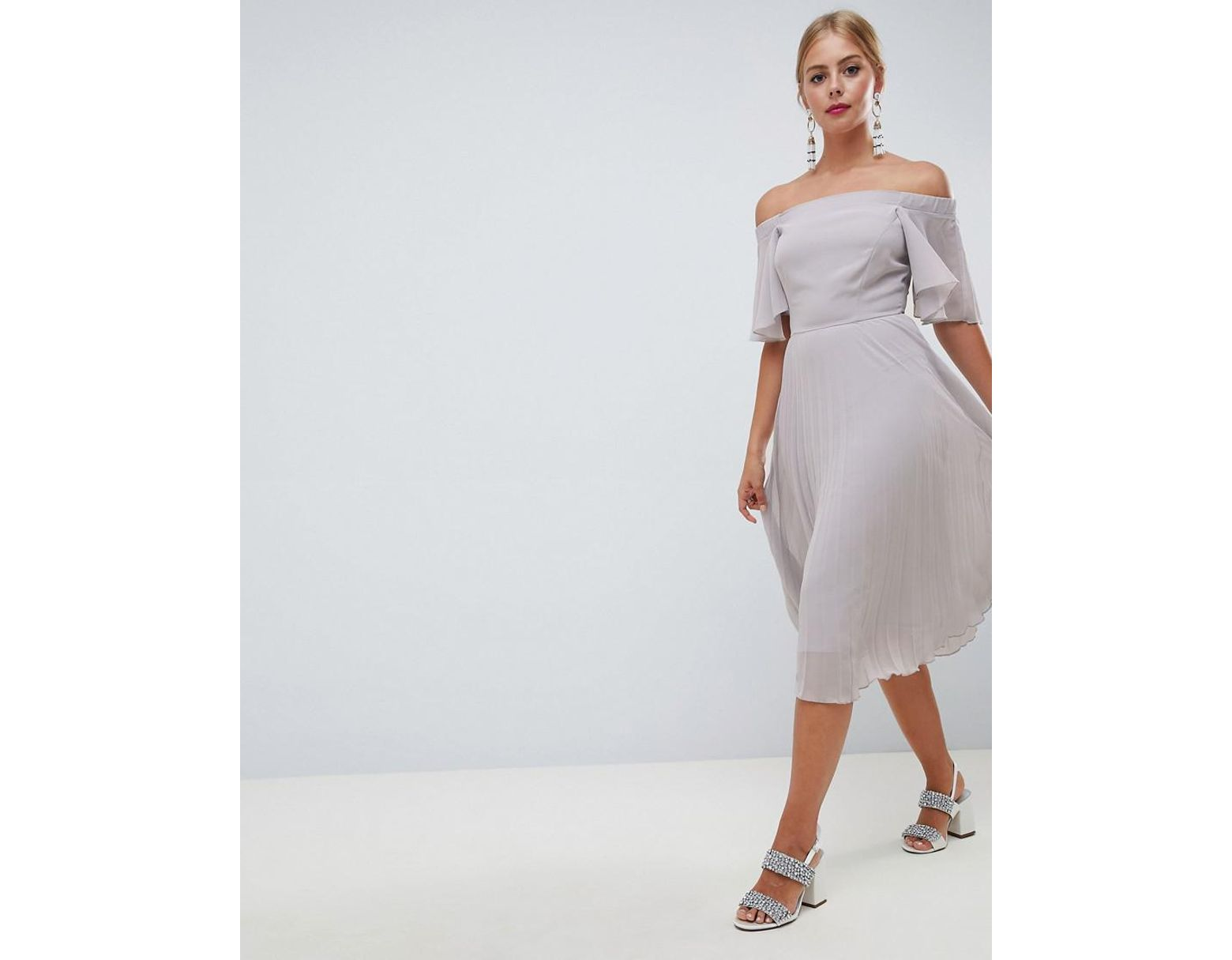 c123e996fd45 ASOS Off Shoulder Pleated Midi Dress in Gray - Lyst