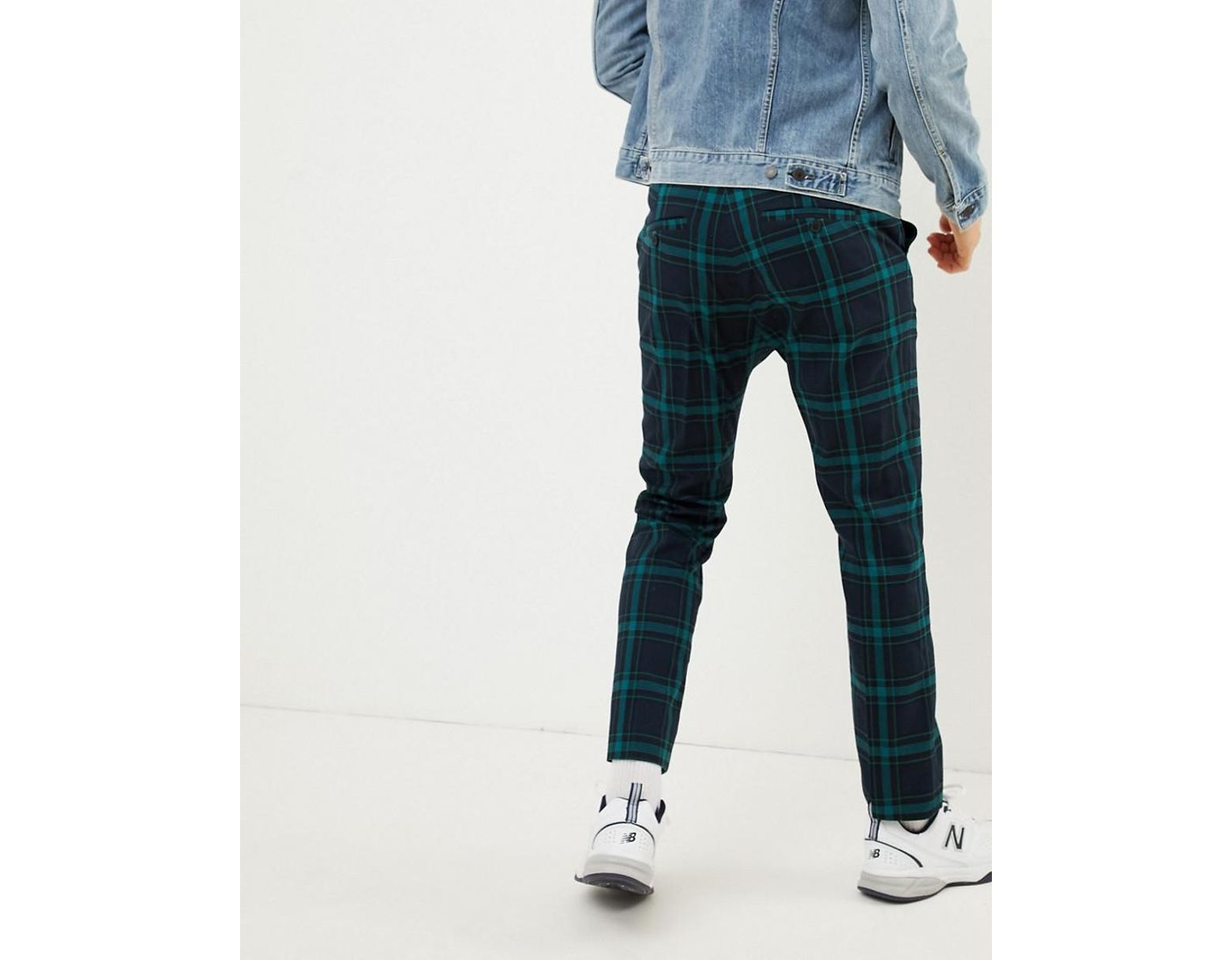 f9852a37604a Weekday Tailored Trousers In Green Check in Blue for Men - Lyst