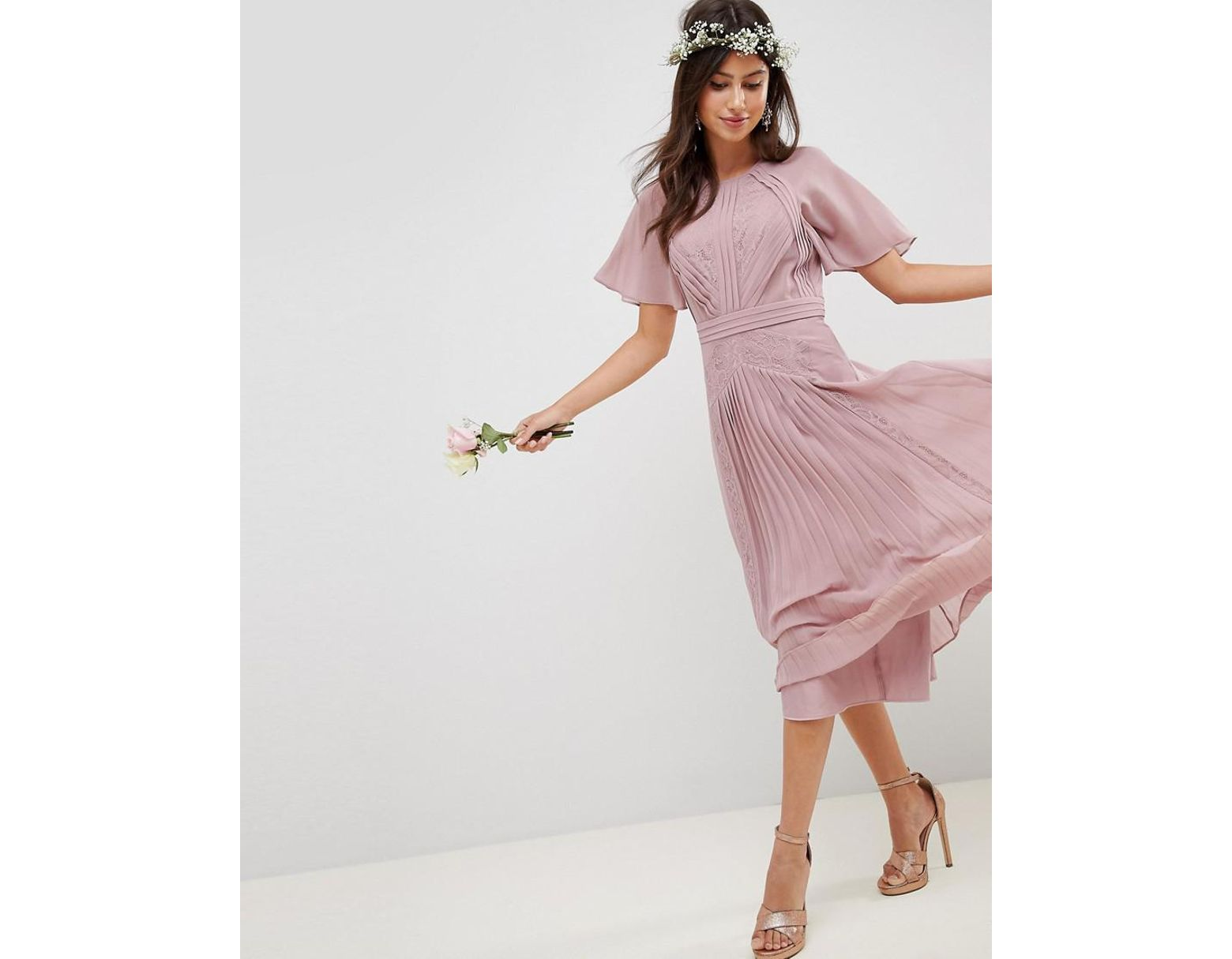 b88abd4b2e21 ASOS Pleated Paneled Short Sleeve Midi Dress With Lace Inserts in Pink -  Lyst