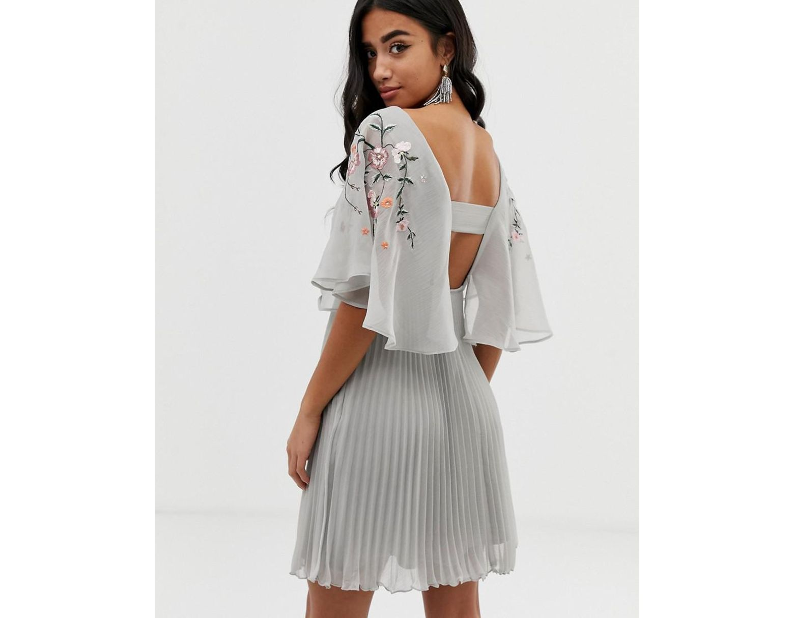 c8b91c0cf85882 ASOS Asos Design Petite Flutter Sleeve Mini Dress With Pleat Skirt In  Embroidery in Gray - Lyst